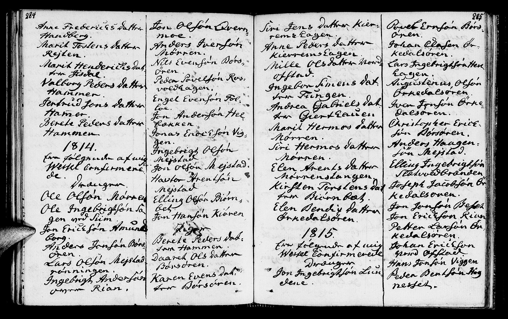 SAT, Ministerialprotokoller, klokkerbøker og fødselsregistre - Sør-Trøndelag, 665/L0769: Ministerialbok nr. 665A04, 1803-1816, s. 284-285