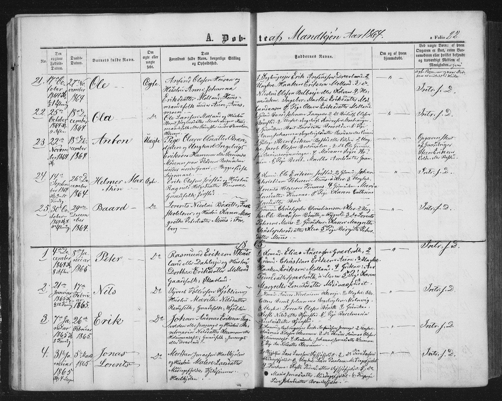 SAT, Ministerialprotokoller, klokkerbøker og fødselsregistre - Nord-Trøndelag, 749/L0472: Ministerialbok nr. 749A06, 1857-1873, s. 22