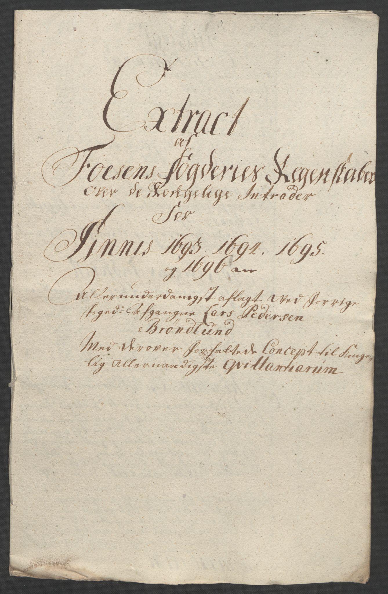 RA, Rentekammeret inntil 1814, Reviderte regnskaper, Fogderegnskap, R57/L3851: Fogderegnskap Fosen, 1695-1696, s. 312
