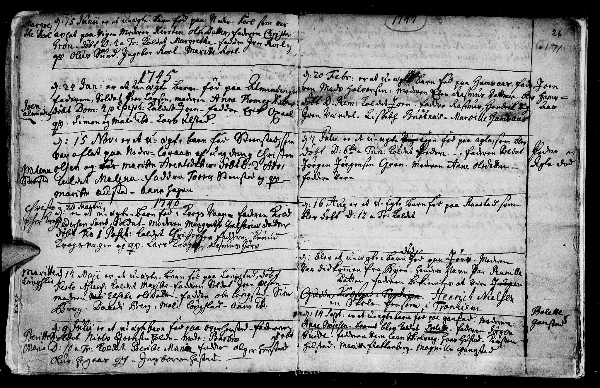 SAT, Ministerialprotokoller, klokkerbøker og fødselsregistre - Nord-Trøndelag, 730/L0272: Ministerialbok nr. 730A01, 1733-1764, s. 171