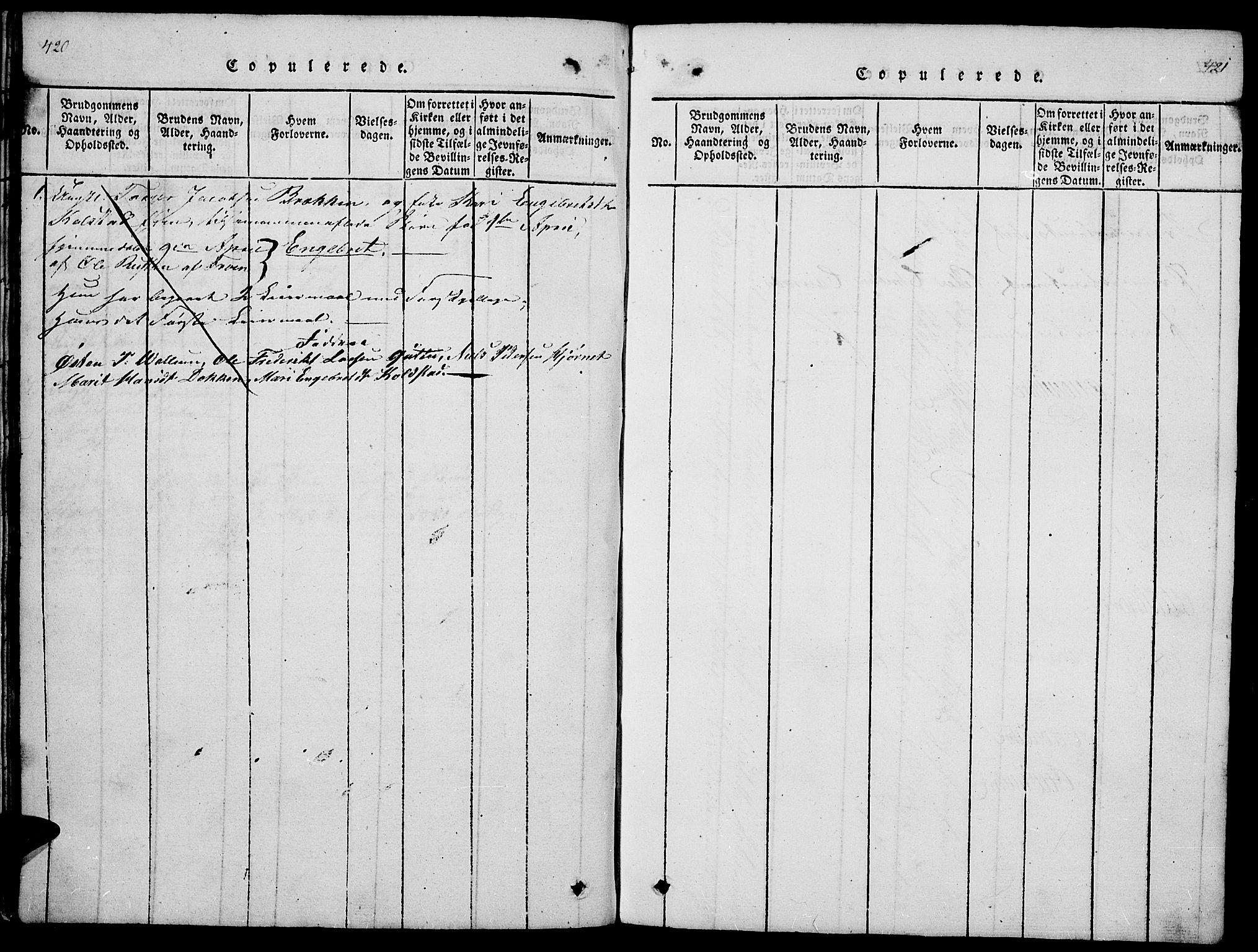 SAH, Ringebu prestekontor, Klokkerbok nr. 1, 1821-1839, s. 420-421