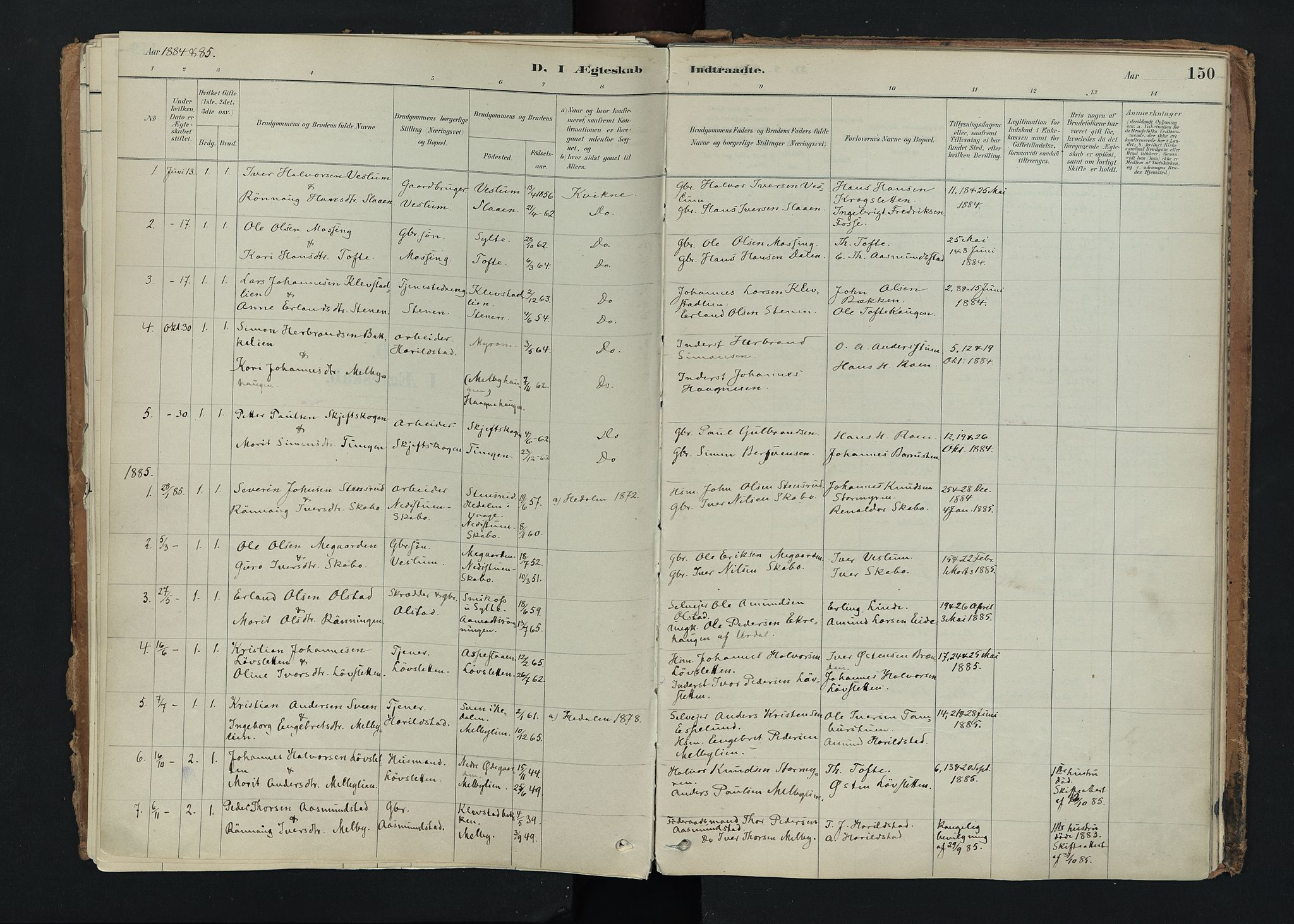 SAH, Nord-Fron prestekontor, Ministerialbok nr. 5, 1884-1914, s. 150