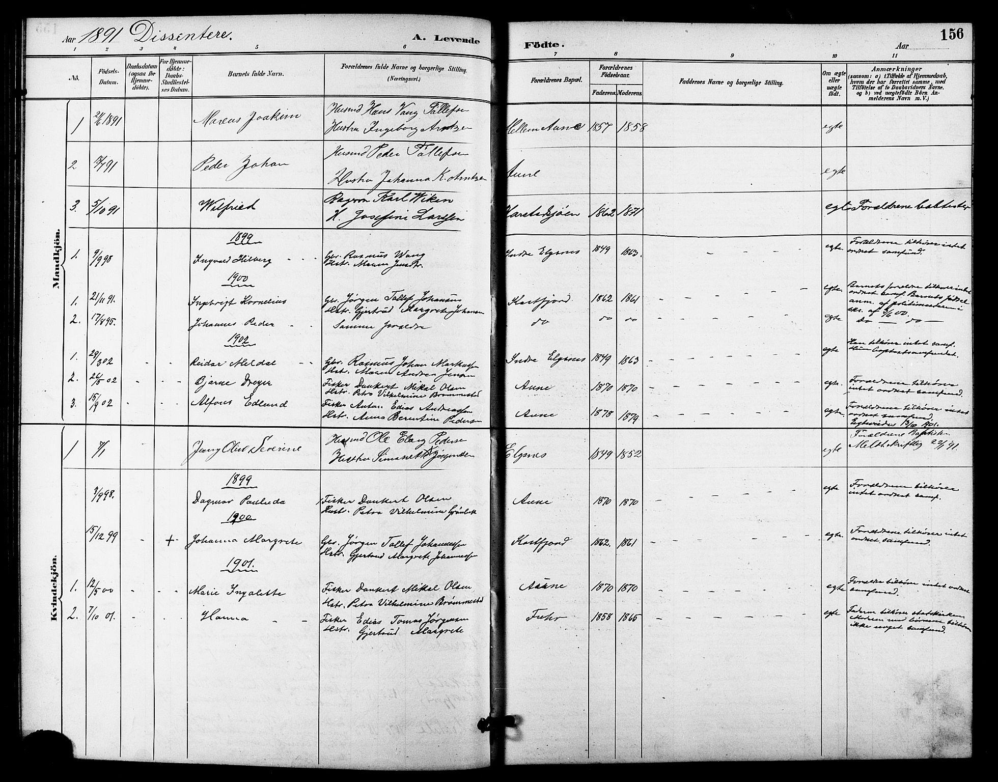 SATØ, Trondenes sokneprestkontor, H/Hb/L0011klokker: Klokkerbok nr. 11, 1891-1906, s. 156