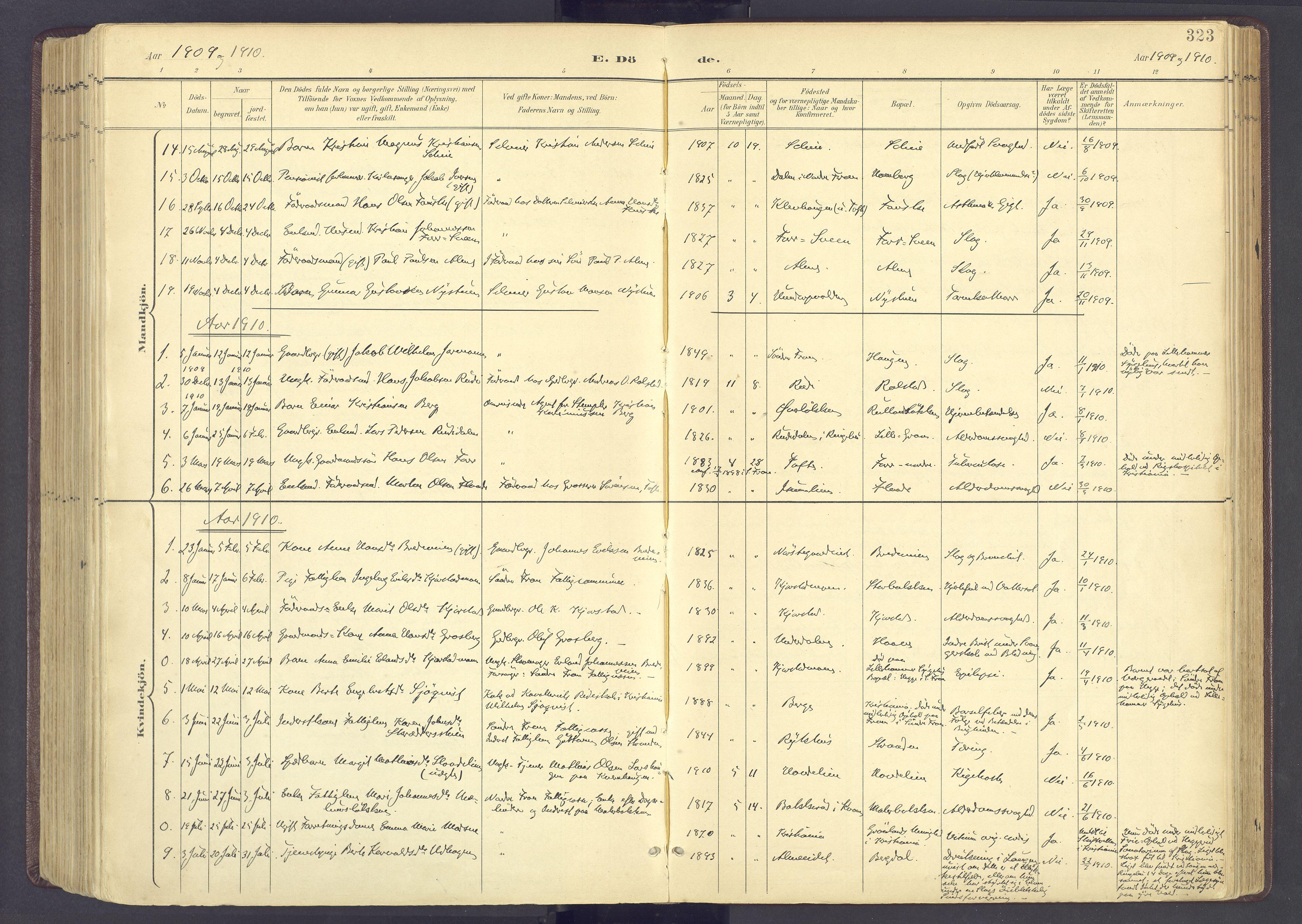 SAH, Sør-Fron prestekontor, H/Ha/Haa/L0004: Ministerialbok nr. 4, 1898-1919, s. 323