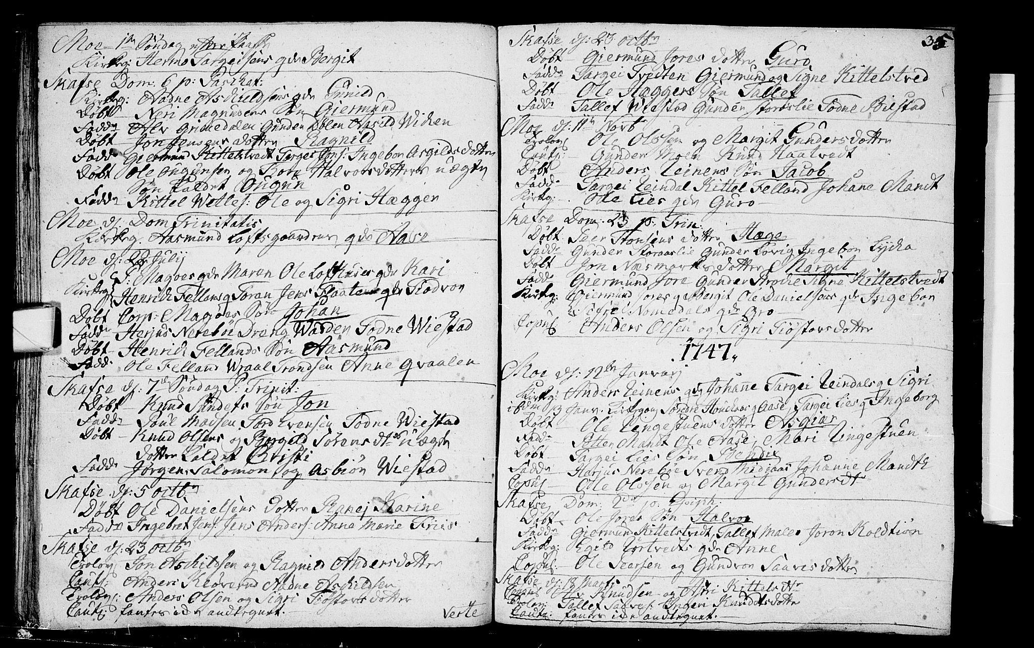 SAKO, Mo kirkebøker, F/Fa/L0001: Ministerialbok nr. I 1, 1724-1748, s. 35