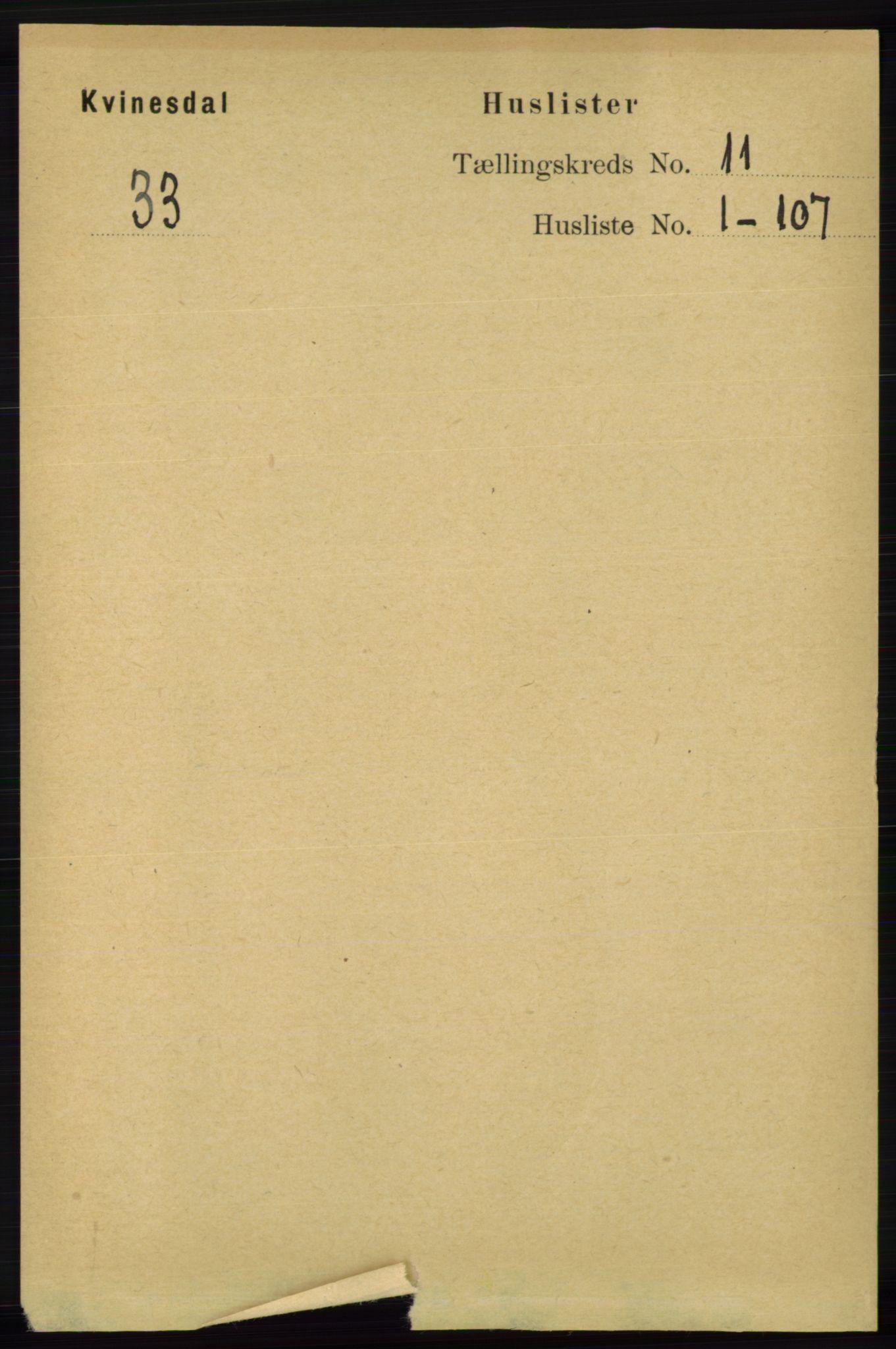 RA, Folketelling 1891 for 1037 Kvinesdal herred, 1891, s. 4391