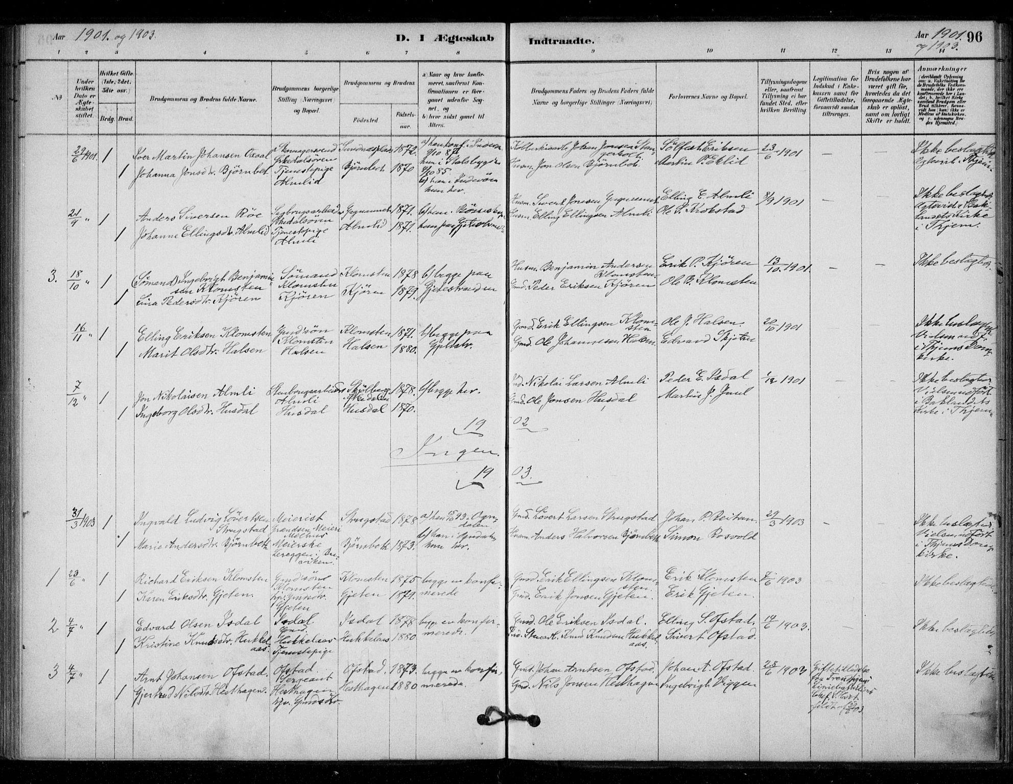 SAT, Ministerialprotokoller, klokkerbøker og fødselsregistre - Sør-Trøndelag, 670/L0836: Ministerialbok nr. 670A01, 1879-1904, s. 96