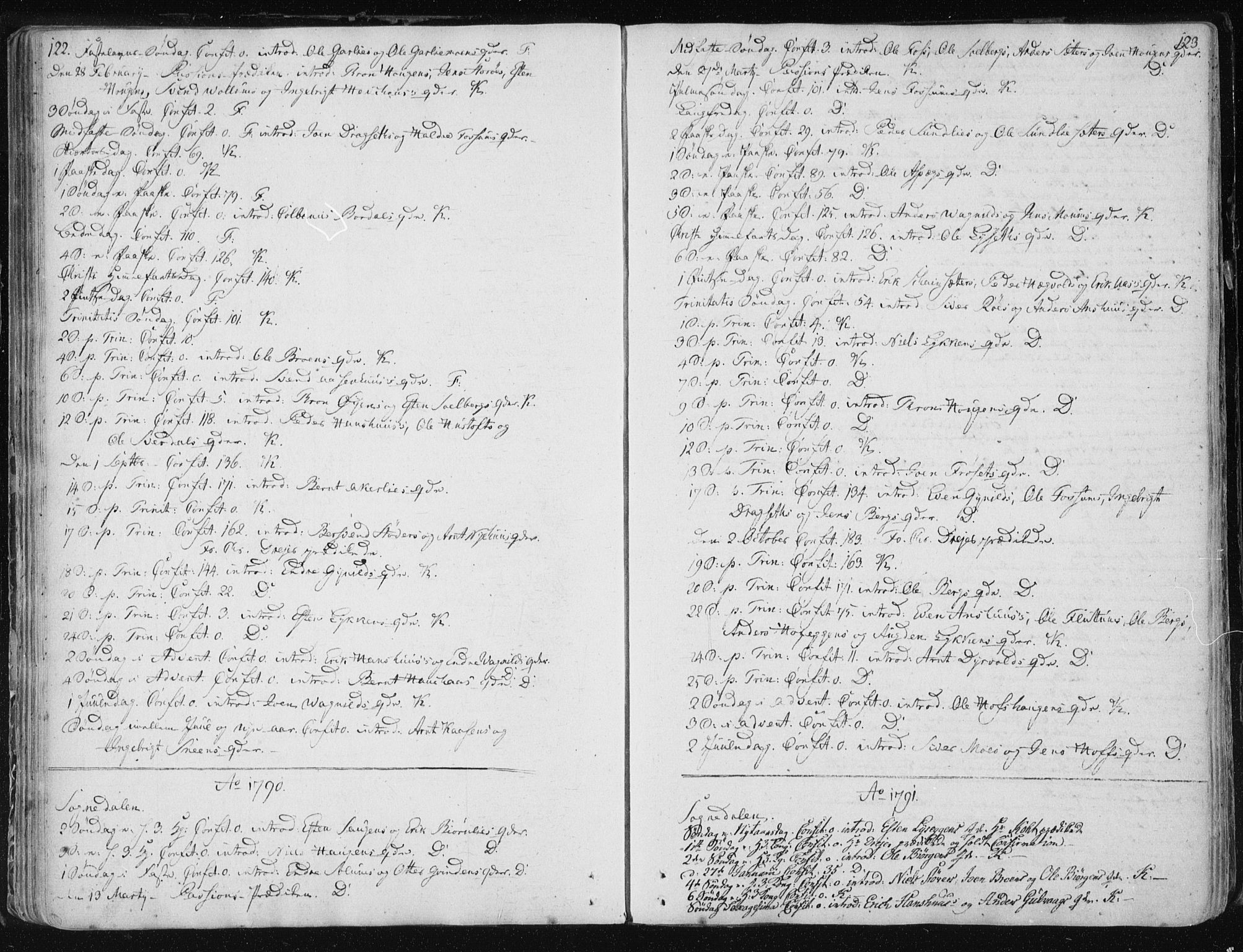 SAT, Ministerialprotokoller, klokkerbøker og fødselsregistre - Sør-Trøndelag, 687/L0994: Ministerialbok nr. 687A03 /3, 1788-1815, s. 122-123