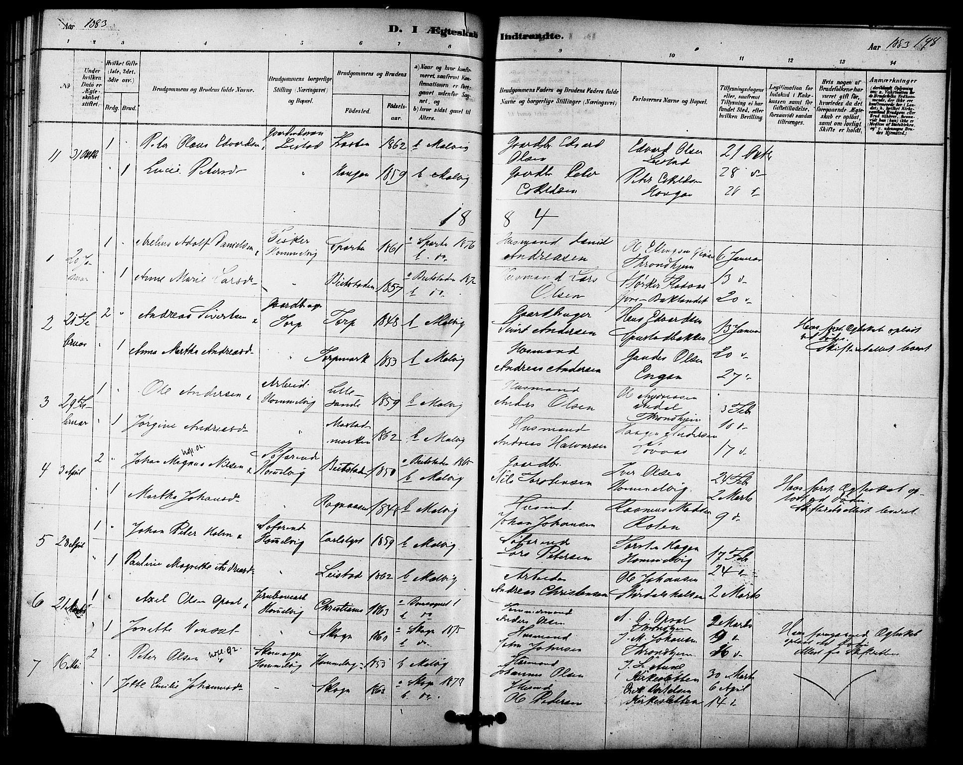 SAT, Ministerialprotokoller, klokkerbøker og fødselsregistre - Sør-Trøndelag, 616/L0410: Ministerialbok nr. 616A07, 1878-1893, s. 198