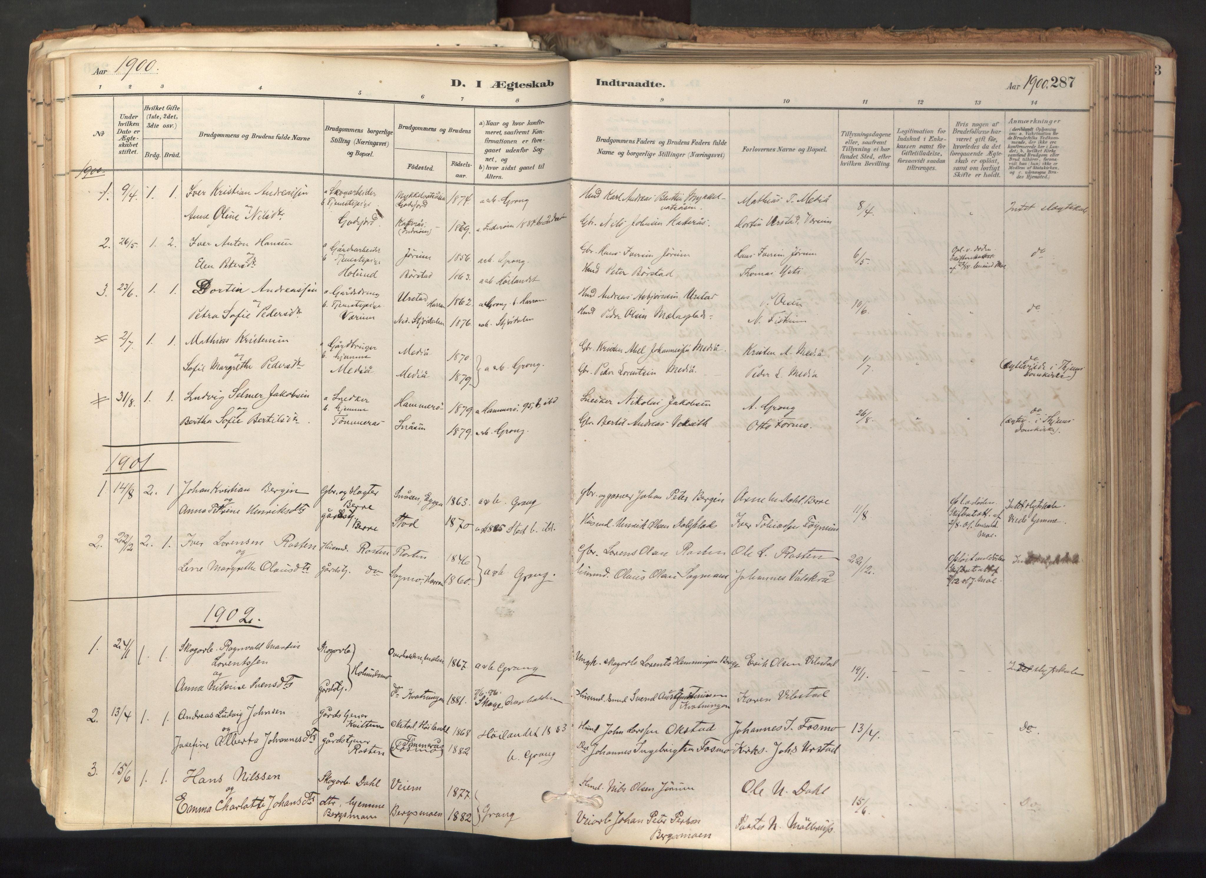SAT, Ministerialprotokoller, klokkerbøker og fødselsregistre - Nord-Trøndelag, 758/L0519: Ministerialbok nr. 758A04, 1880-1926, s. 287