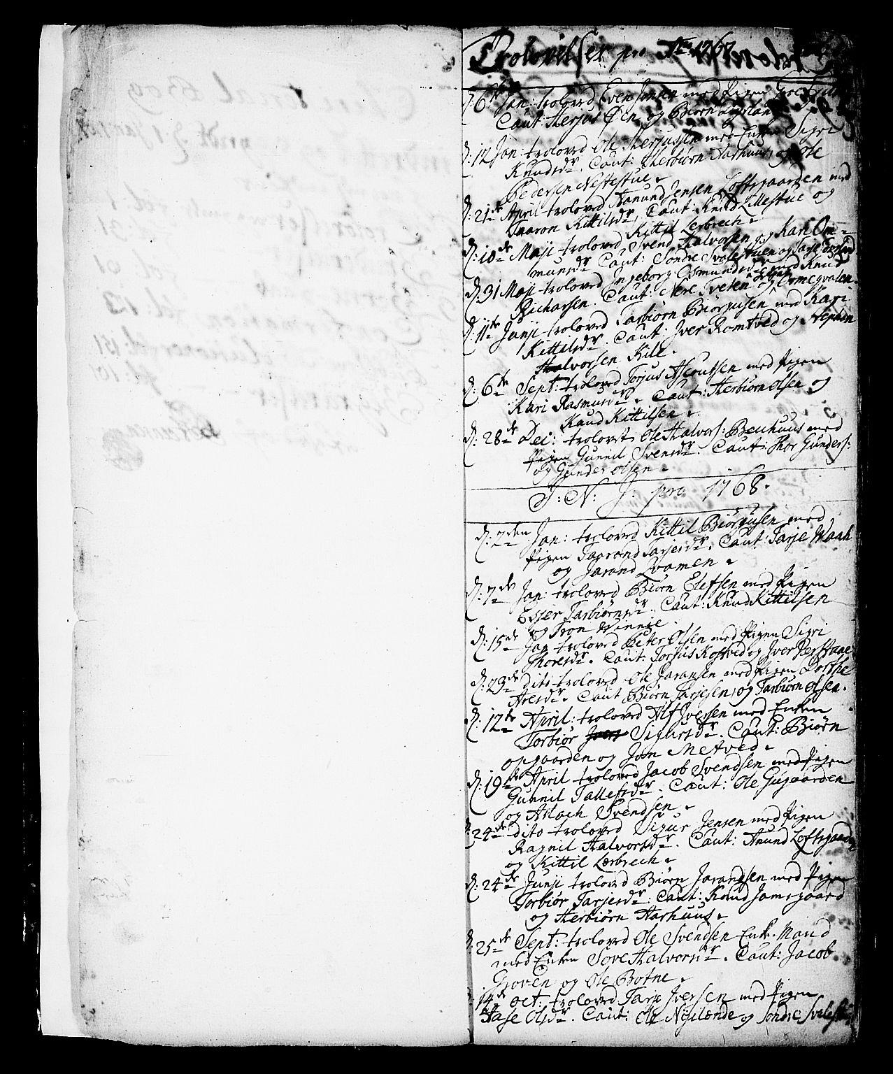 SAKO, Vinje kirkebøker, F/Fa/L0002: Ministerialbok nr. I 2, 1767-1814, s. 1