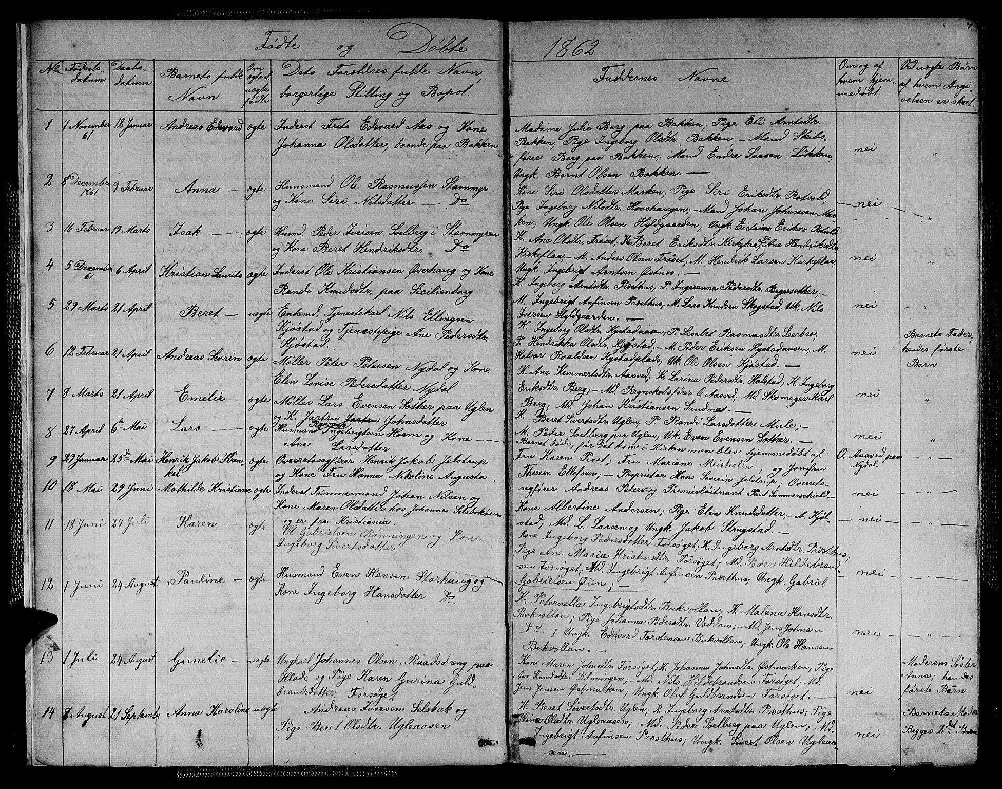 SAT, Ministerialprotokoller, klokkerbøker og fødselsregistre - Sør-Trøndelag, 611/L0353: Klokkerbok nr. 611C01, 1854-1881, s. 7