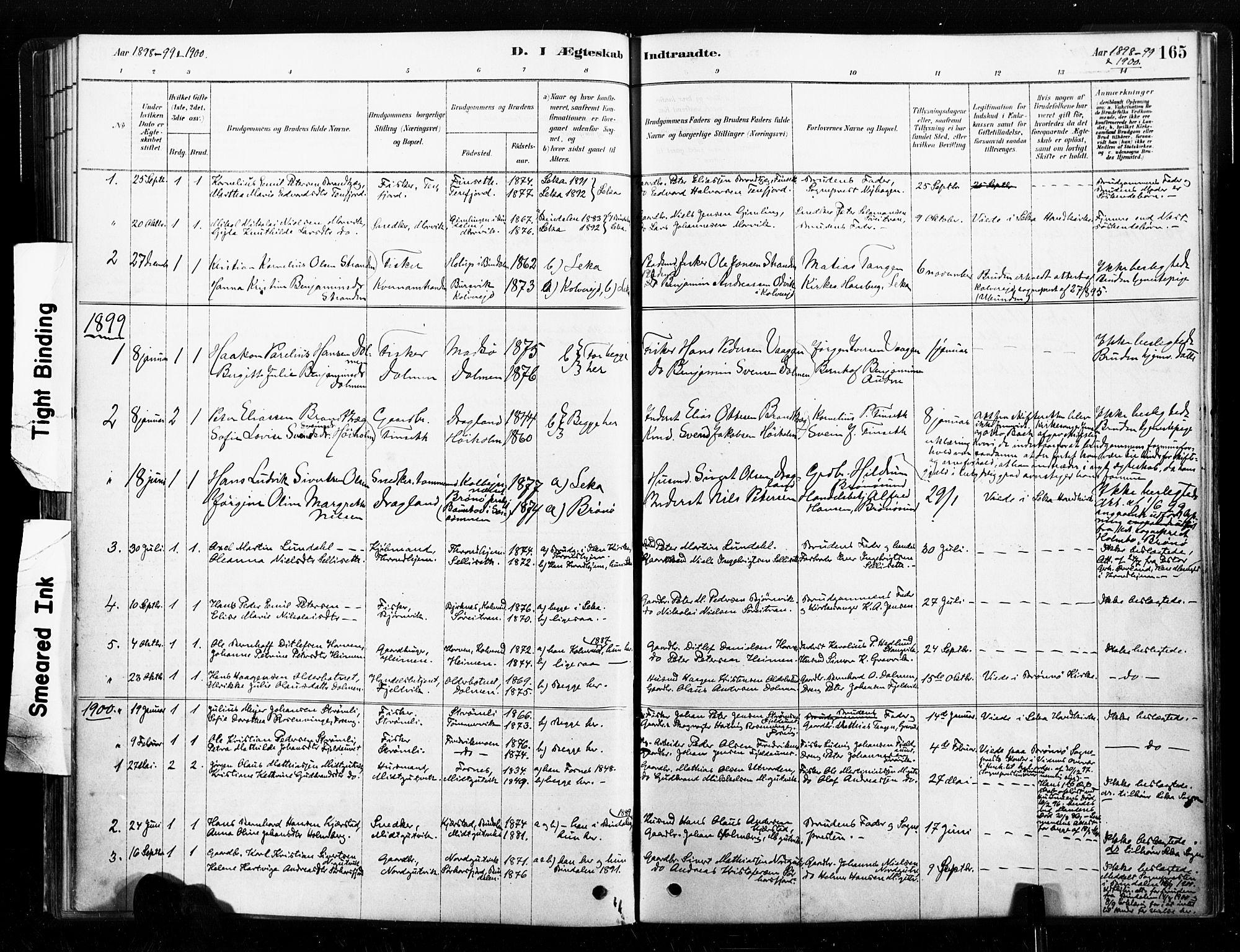SAT, Ministerialprotokoller, klokkerbøker og fødselsregistre - Nord-Trøndelag, 789/L0705: Ministerialbok nr. 789A01, 1878-1910, s. 165