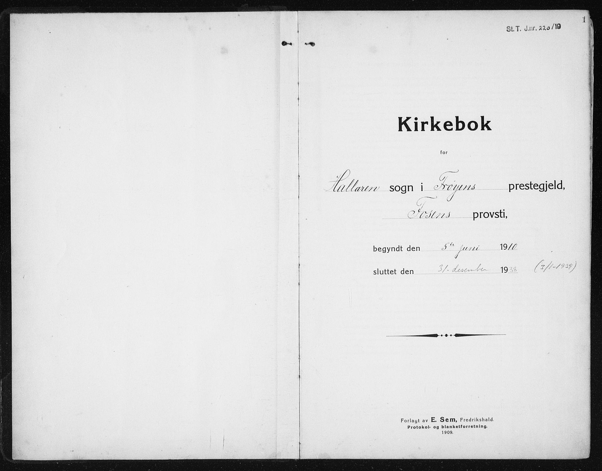SAT, Ministerialprotokoller, klokkerbøker og fødselsregistre - Sør-Trøndelag, 641/L0599: Klokkerbok nr. 641C03, 1910-1938, s. 1