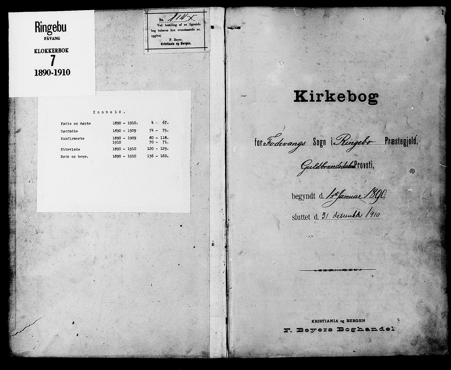 SAH, Ringebu prestekontor, Klokkerbok nr. 7, 1890-1910, s. 1
