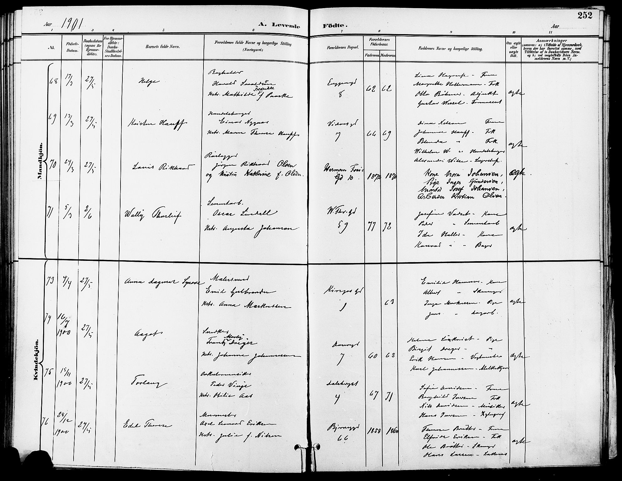 SAO, Gamle Aker prestekontor Kirkebøker, F/L0011: Ministerialbok nr. 11, 1896-1901, s. 252
