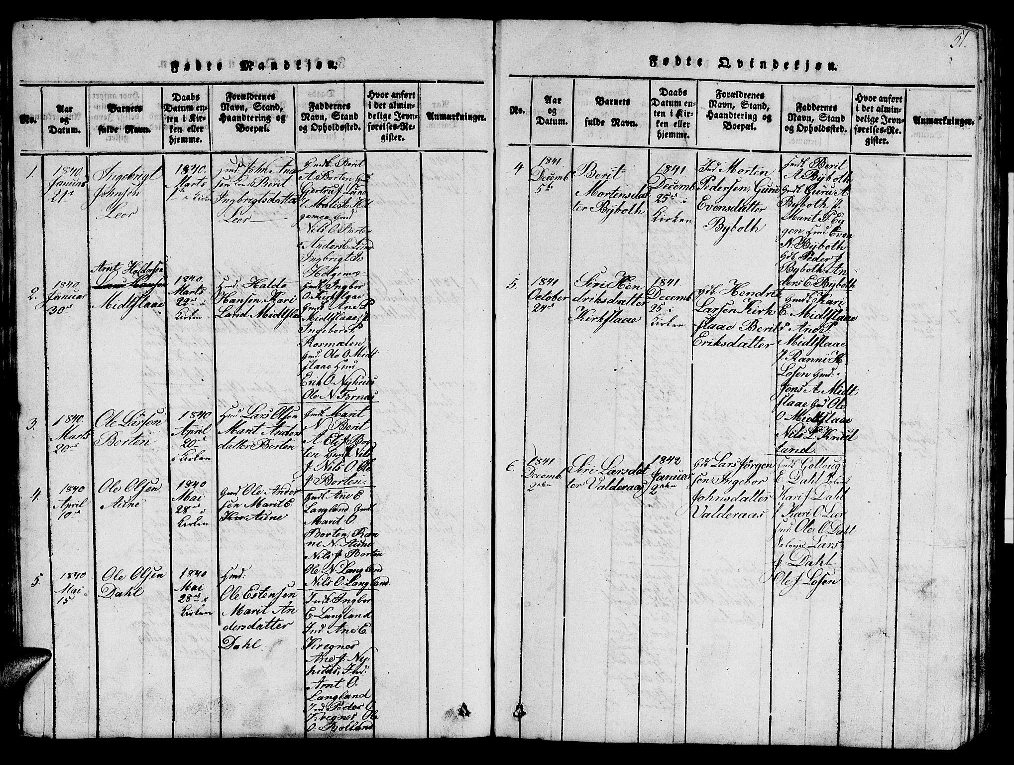 SAT, Ministerialprotokoller, klokkerbøker og fødselsregistre - Sør-Trøndelag, 693/L1121: Klokkerbok nr. 693C02, 1816-1869, s. 51
