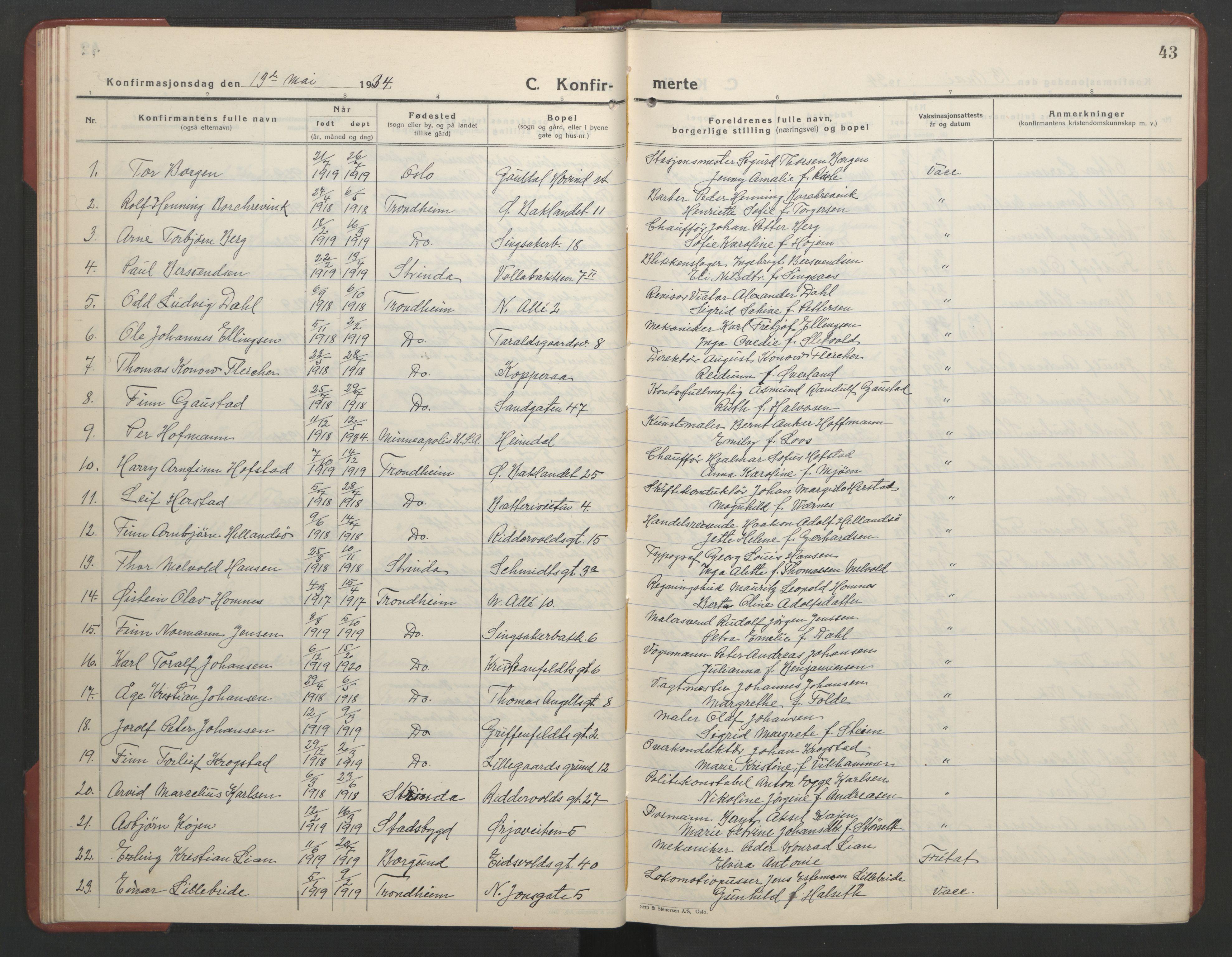 SAT, Ministerialprotokoller, klokkerbøker og fødselsregistre - Sør-Trøndelag, 602/L0151: Klokkerbok nr. 602C19, 1925-1951, s. 43