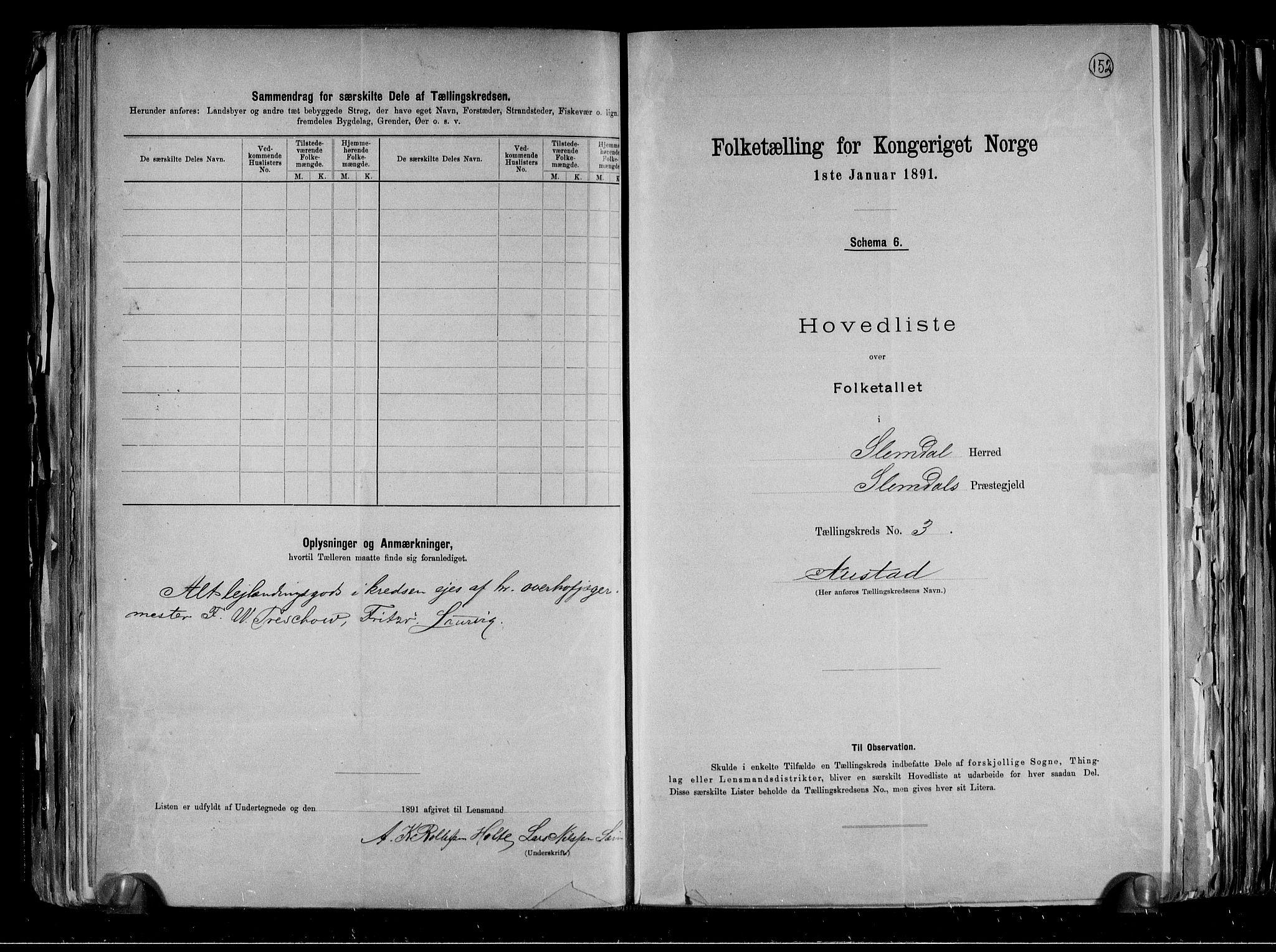 RA, Folketelling 1891 for 0811 Slemdal herred, 1891, s. 9