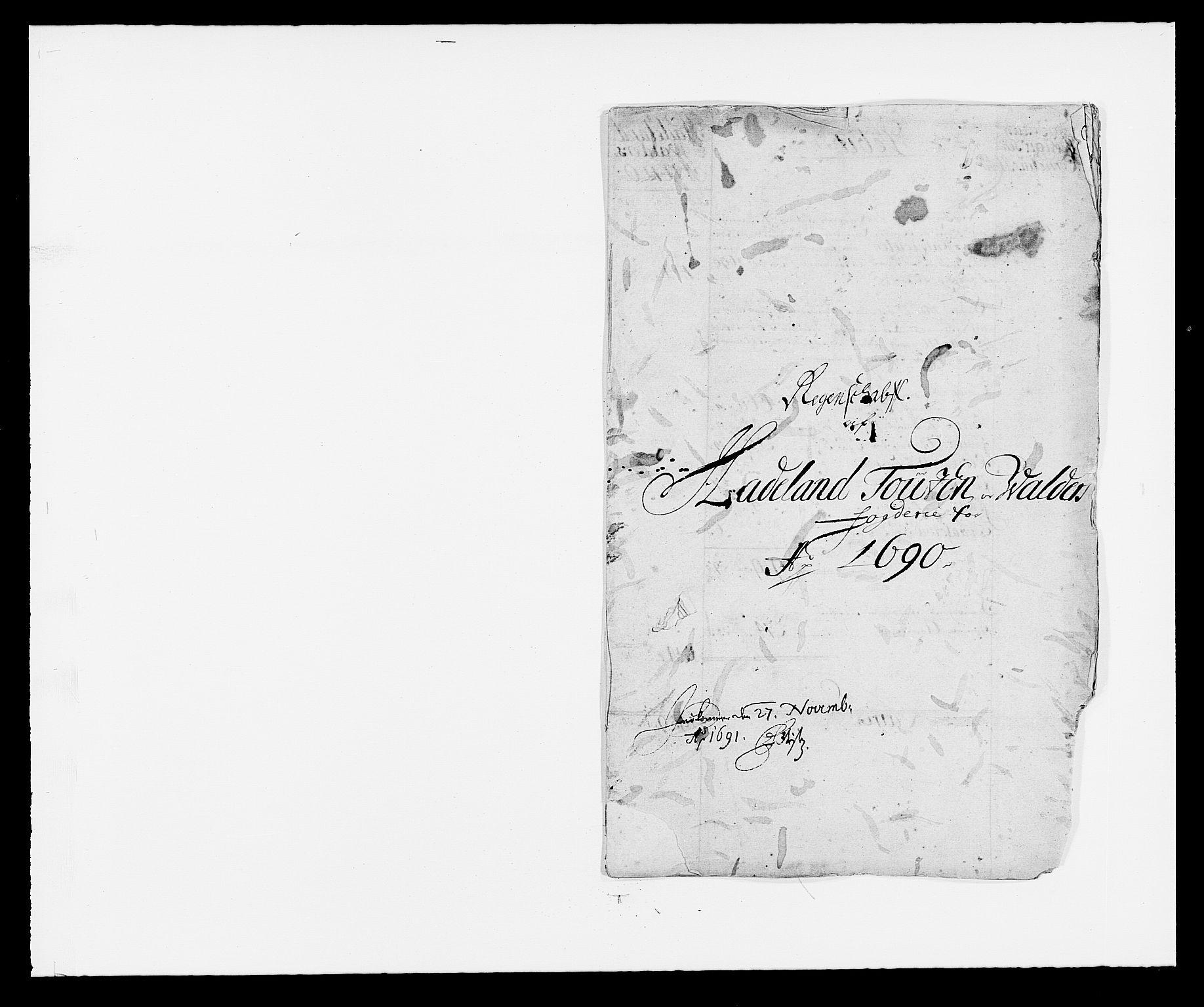 RA, Rentekammeret inntil 1814, Reviderte regnskaper, Fogderegnskap, R18/L1289: Fogderegnskap Hadeland, Toten og Valdres, 1690, s. 2