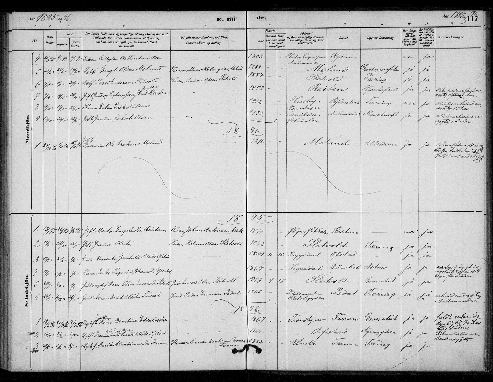 SAT, Ministerialprotokoller, klokkerbøker og fødselsregistre - Sør-Trøndelag, 670/L0836: Ministerialbok nr. 670A01, 1879-1904, s. 117