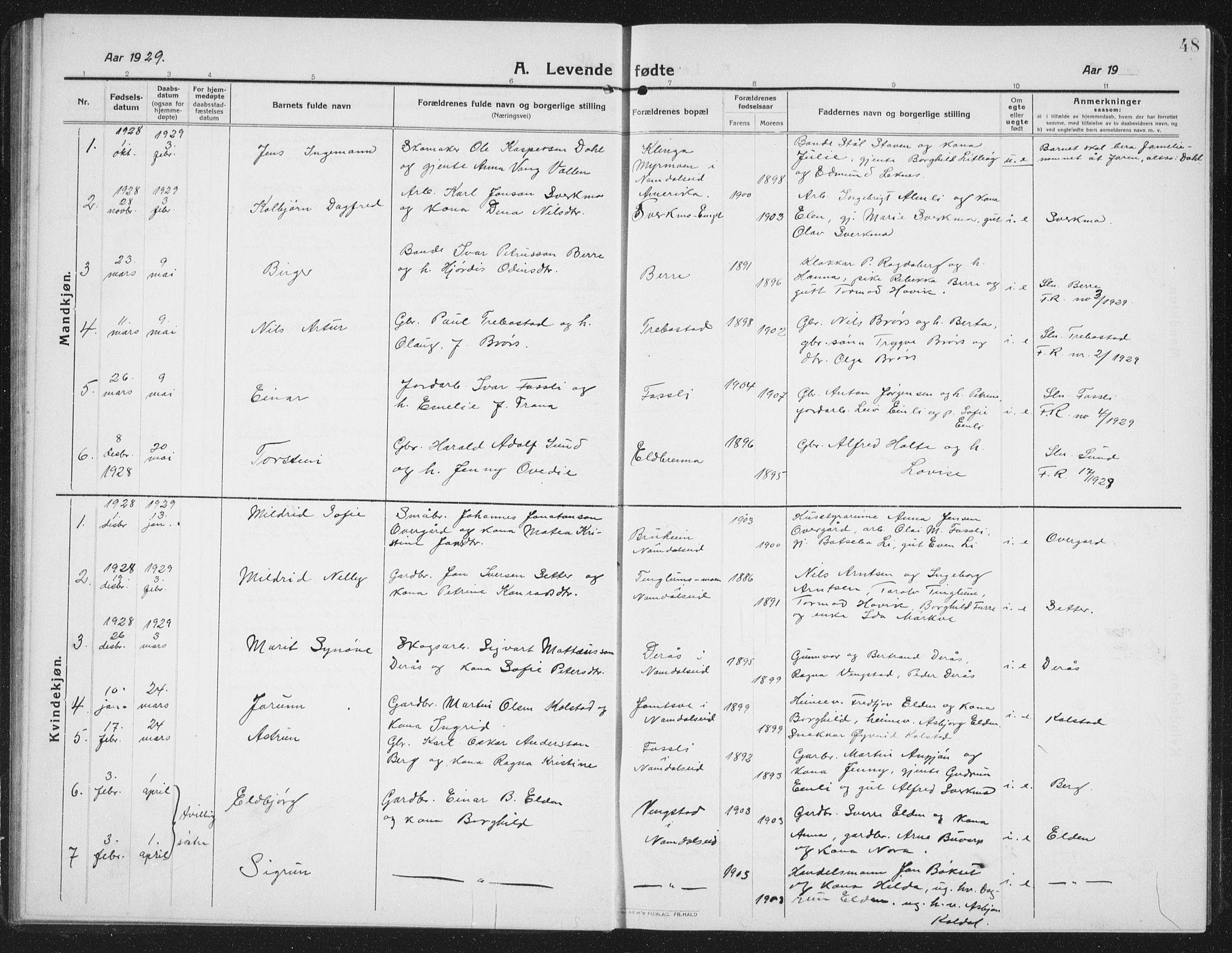 SAT, Ministerialprotokoller, klokkerbøker og fødselsregistre - Nord-Trøndelag, 742/L0413: Klokkerbok nr. 742C04, 1911-1938, s. 48