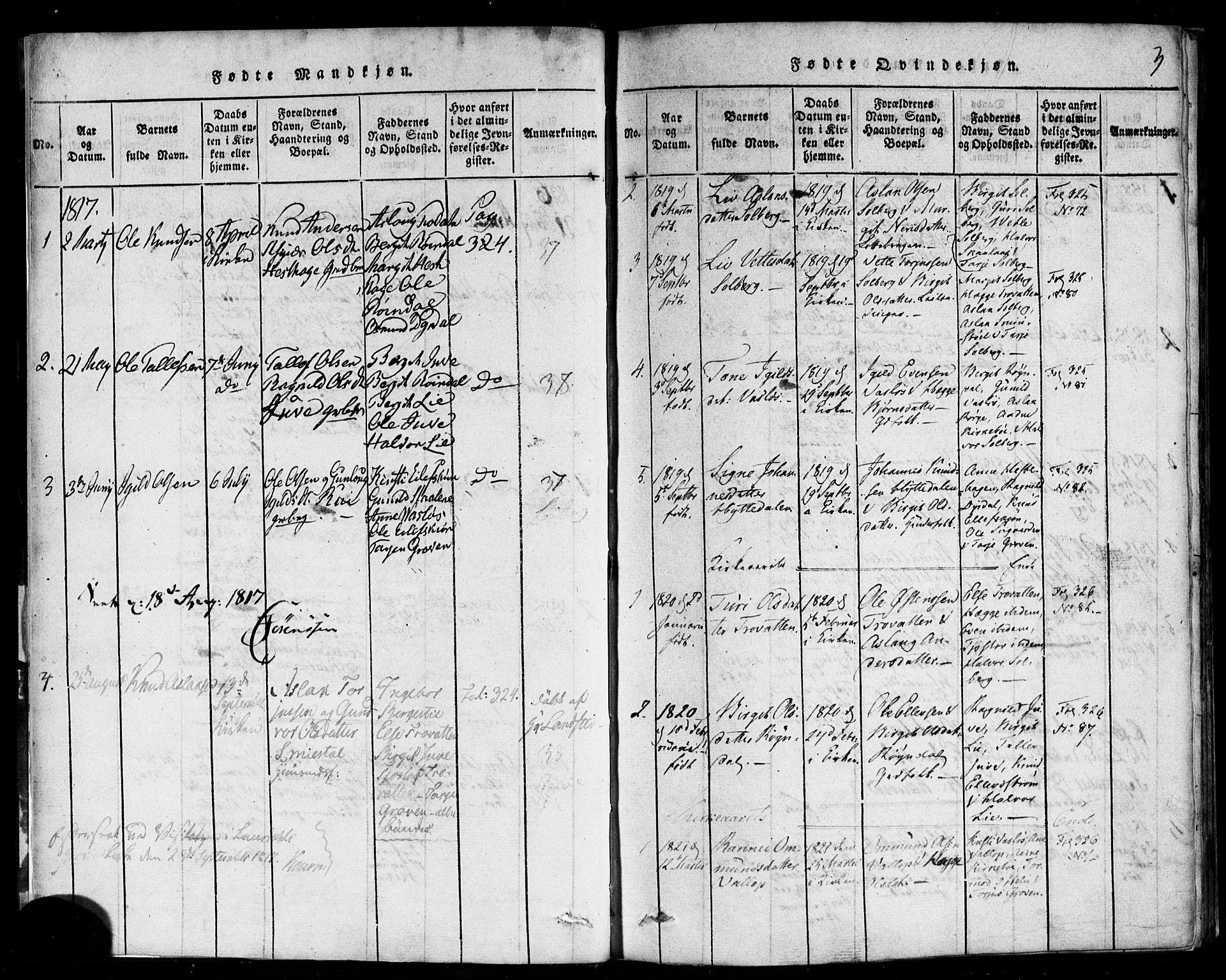 SAKO, Rauland kirkebøker, F/Fa/L0002: Ministerialbok nr. 2, 1815-1860, s. 3