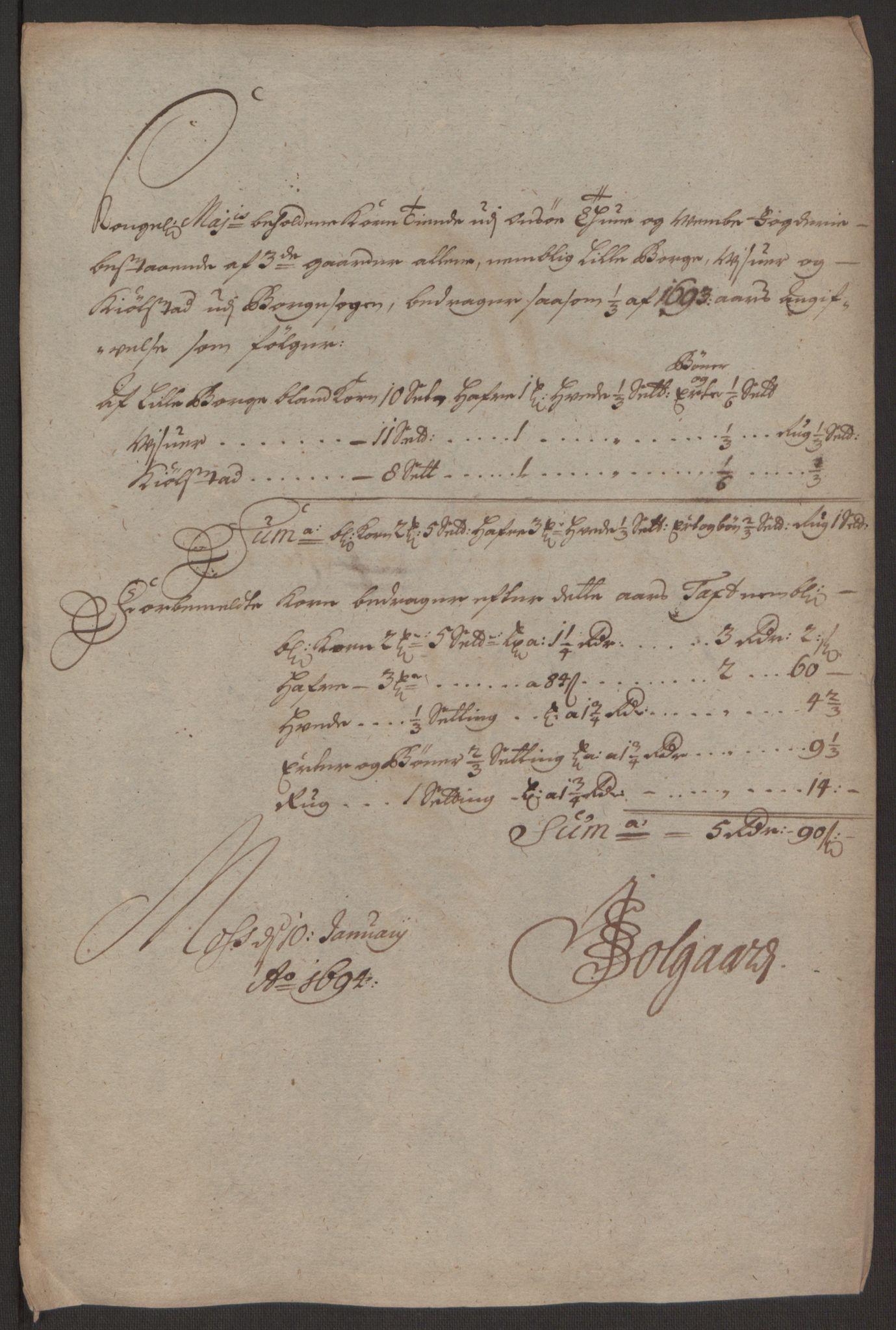 RA, Rentekammeret inntil 1814, Reviderte regnskaper, Fogderegnskap, R03/L0120: Fogderegnskap Onsøy, Tune, Veme og Åbygge fogderi, 1692-1693, s. 249