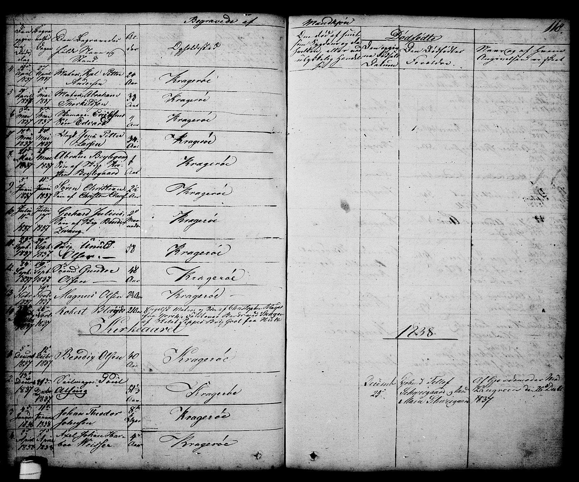 SAKO, Kragerø kirkebøker, G/Ga/L0003: Klokkerbok nr. 3, 1832-1852, s. 118
