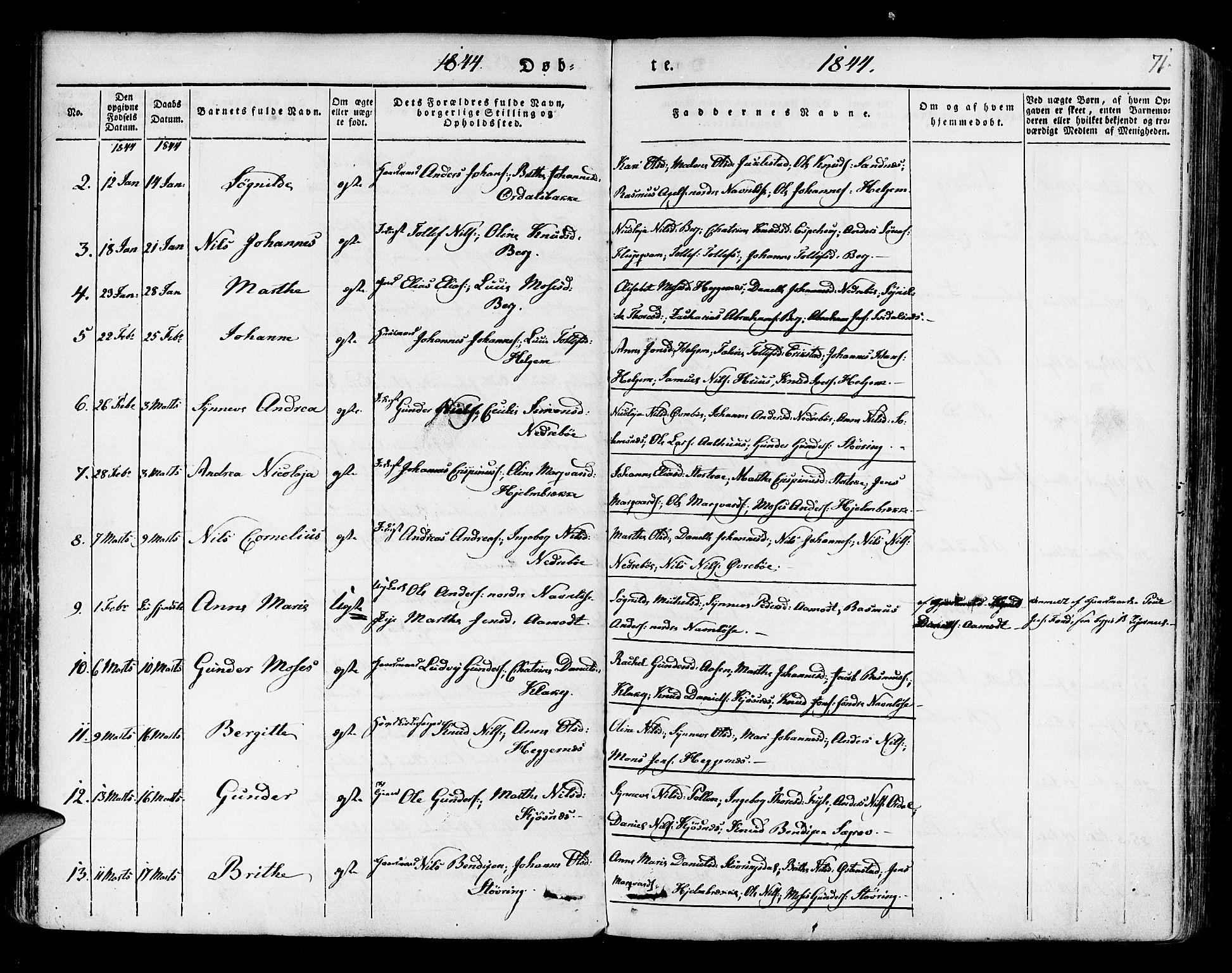 SAB, Jølster sokneprestembete, H/Haa/Haaa/L0009: Ministerialbok nr. A 9, 1833-1848, s. 71