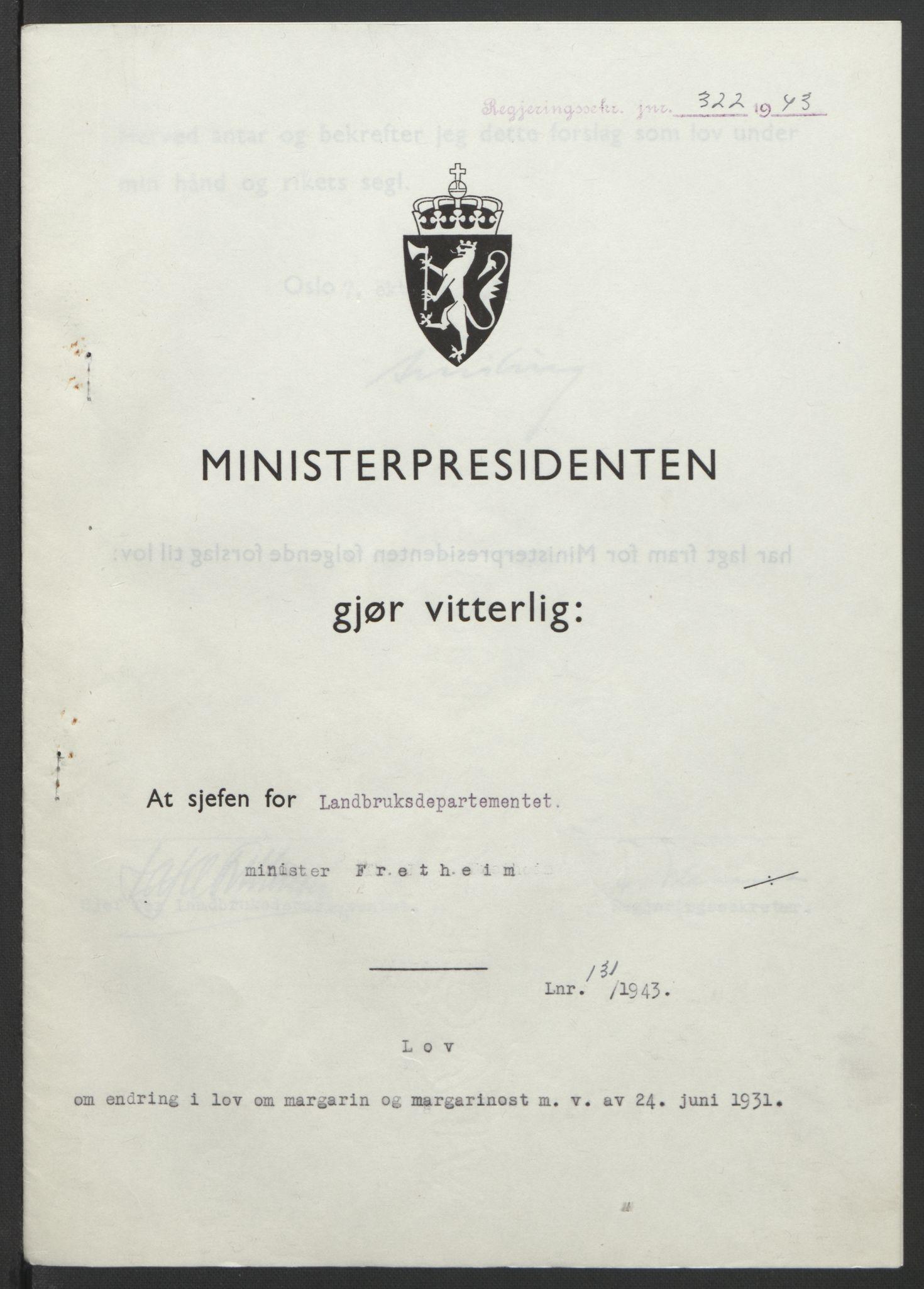 RA, NS-administrasjonen 1940-1945 (Statsrådsekretariatet, de kommisariske statsråder mm), D/Db/L0099: Lover, 1943, s. 612