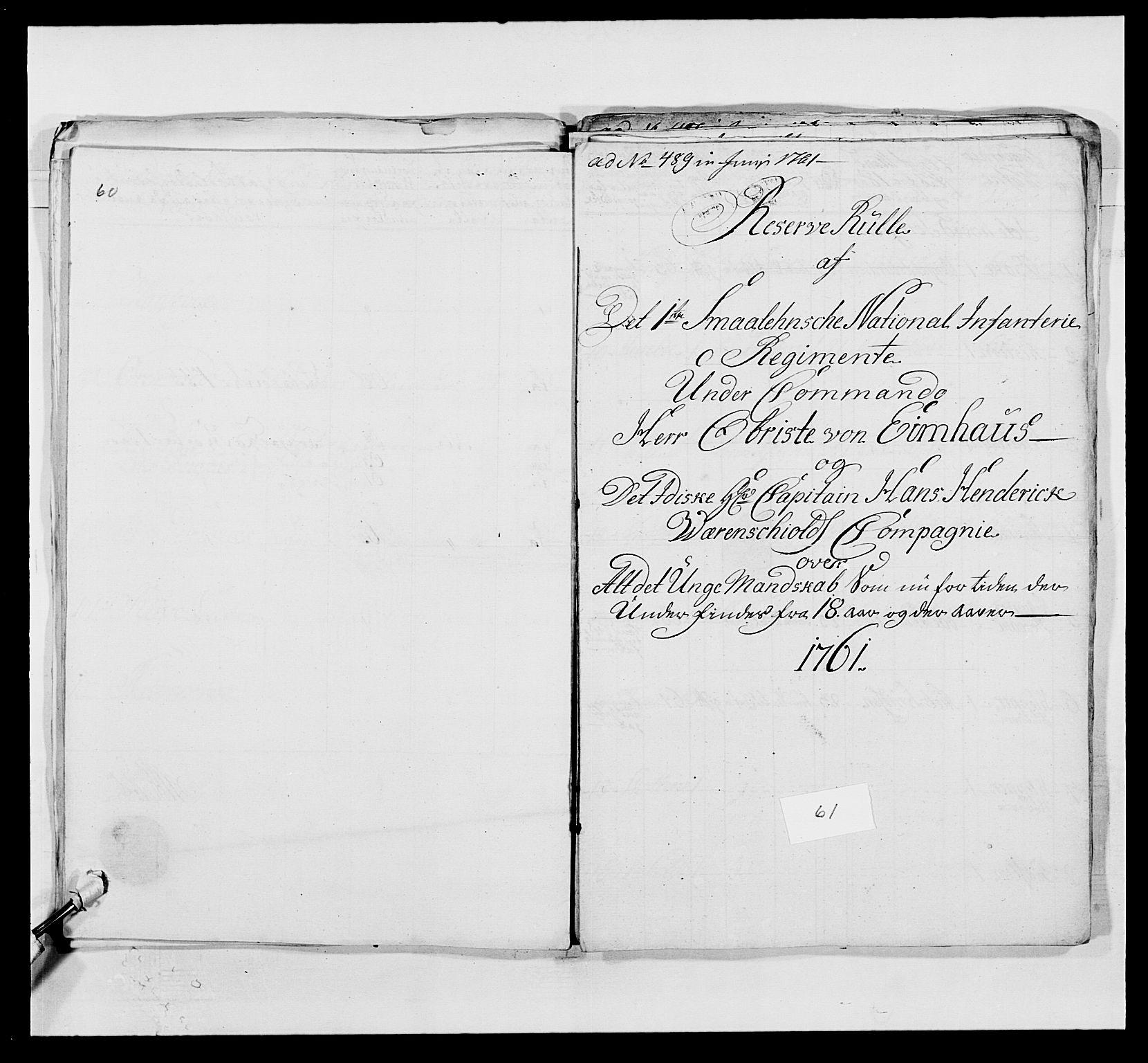 RA, Kommanderende general (KG I) med Det norske krigsdirektorium, E/Ea/L0495: 1. Smålenske regiment, 1732-1763, s. 774