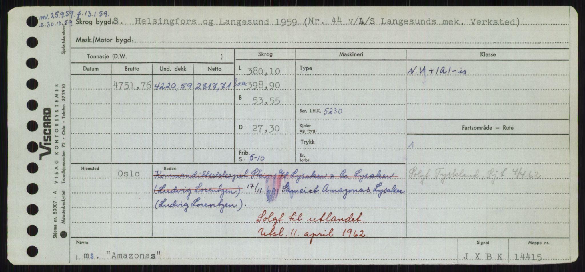 RA, Sjøfartsdirektoratet med forløpere, Skipsmålingen, H/Hd/L0001: Fartøy, A-Anv, s. 451
