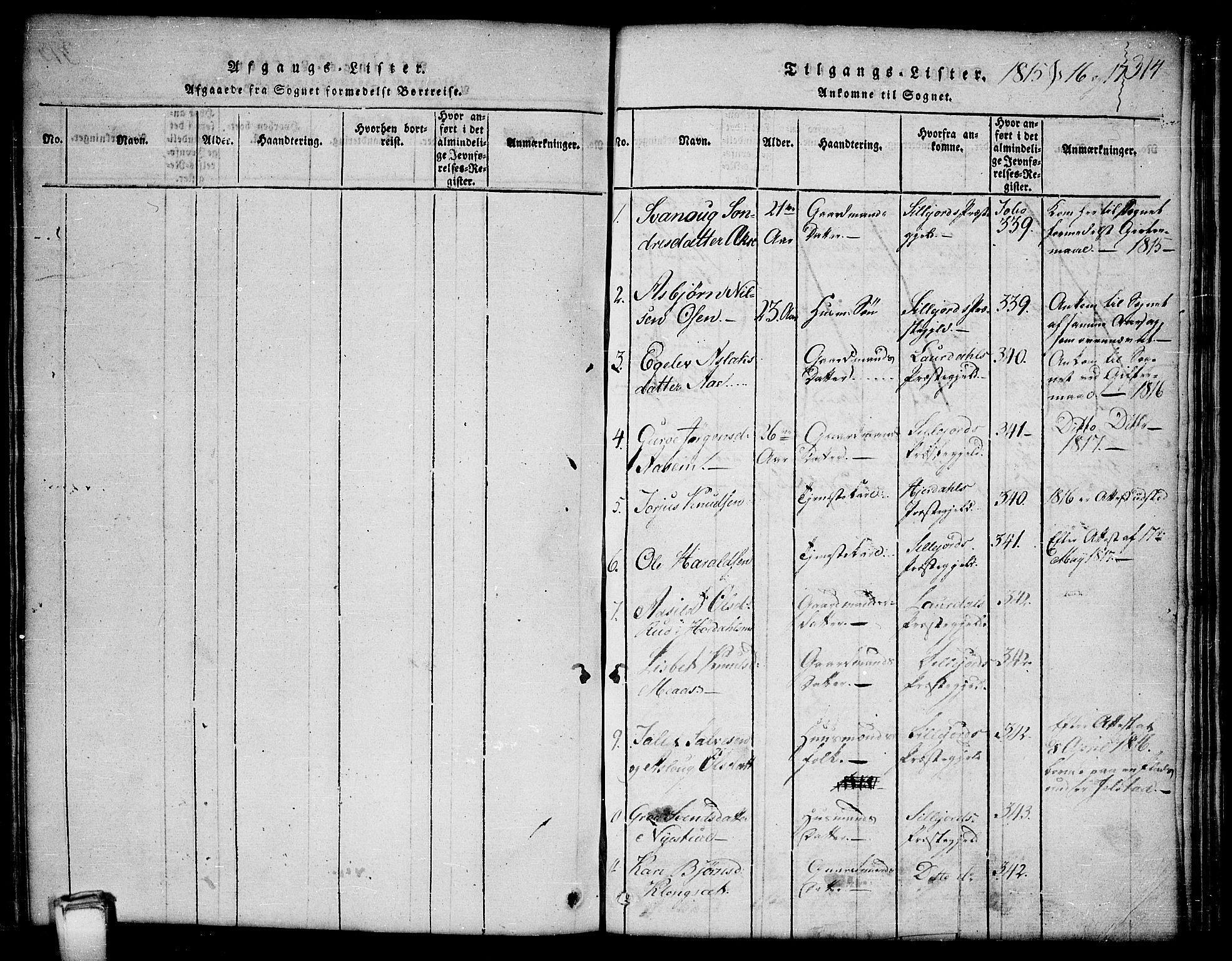 SAKO, Kviteseid kirkebøker, G/Gb/L0001: Klokkerbok nr. II 1, 1815-1842, s. 314