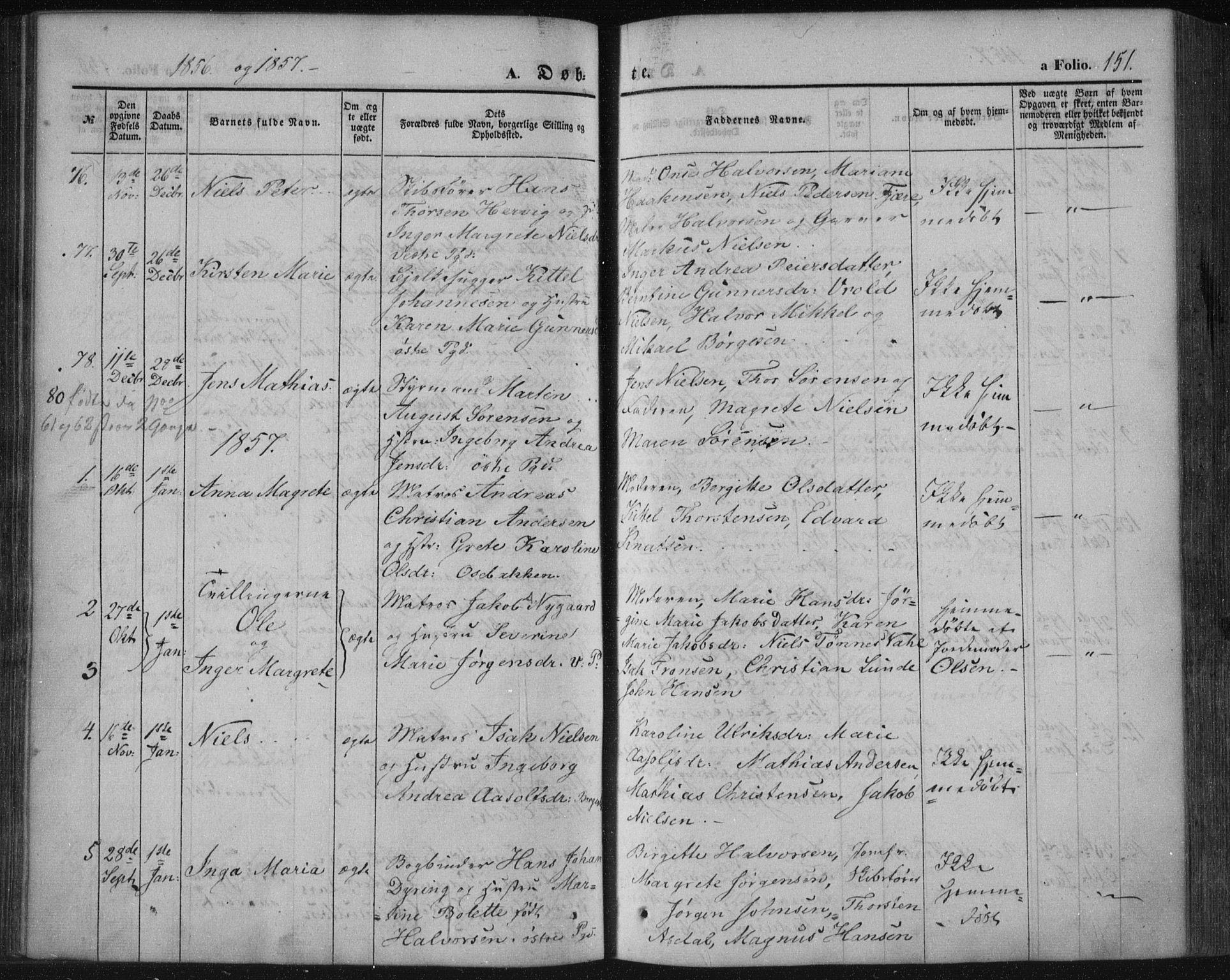 SAKO, Porsgrunn kirkebøker , F/Fa/L0006: Ministerialbok nr. 6, 1841-1857, s. 151