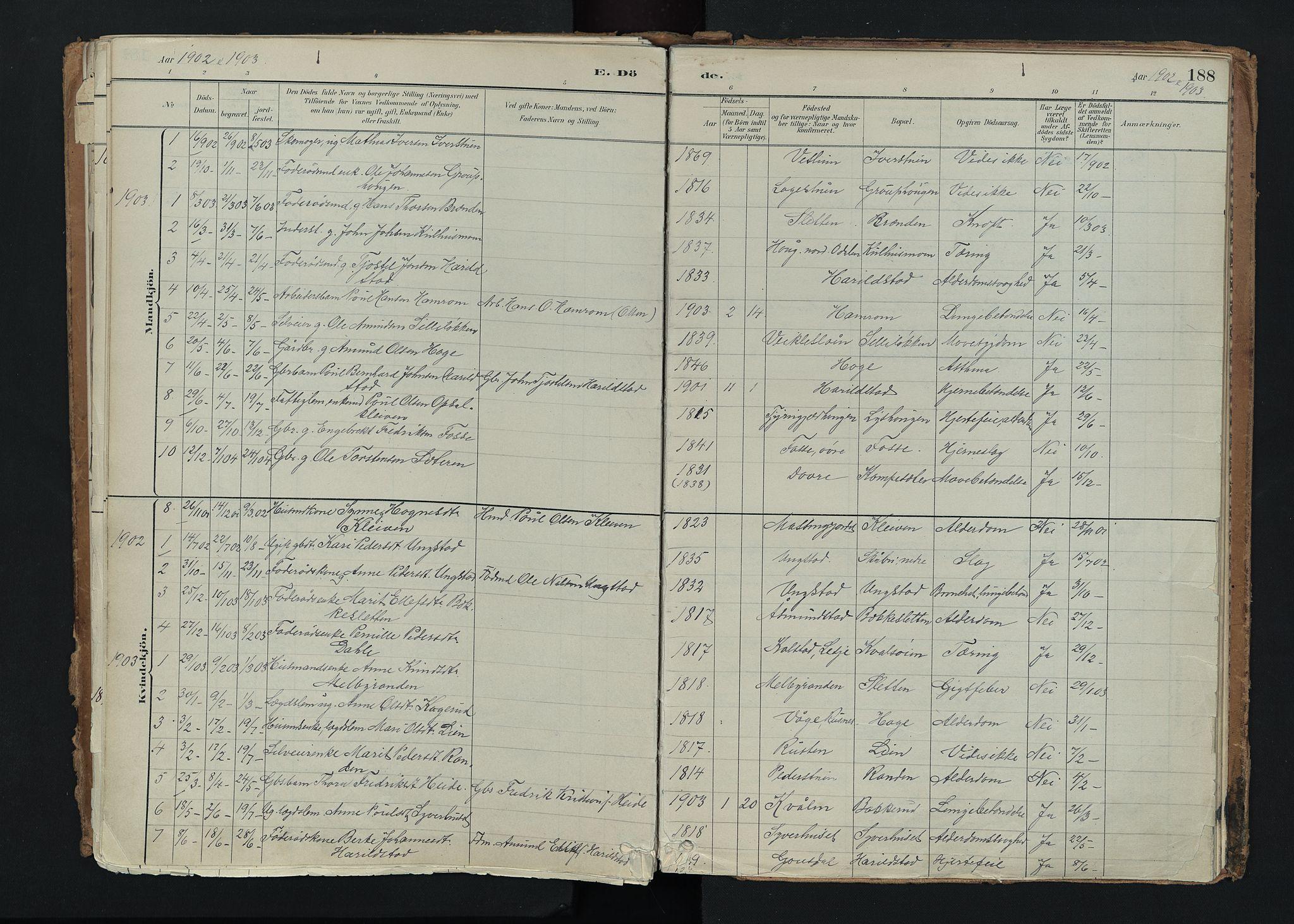 SAH, Nord-Fron prestekontor, Ministerialbok nr. 5, 1884-1914, s. 188
