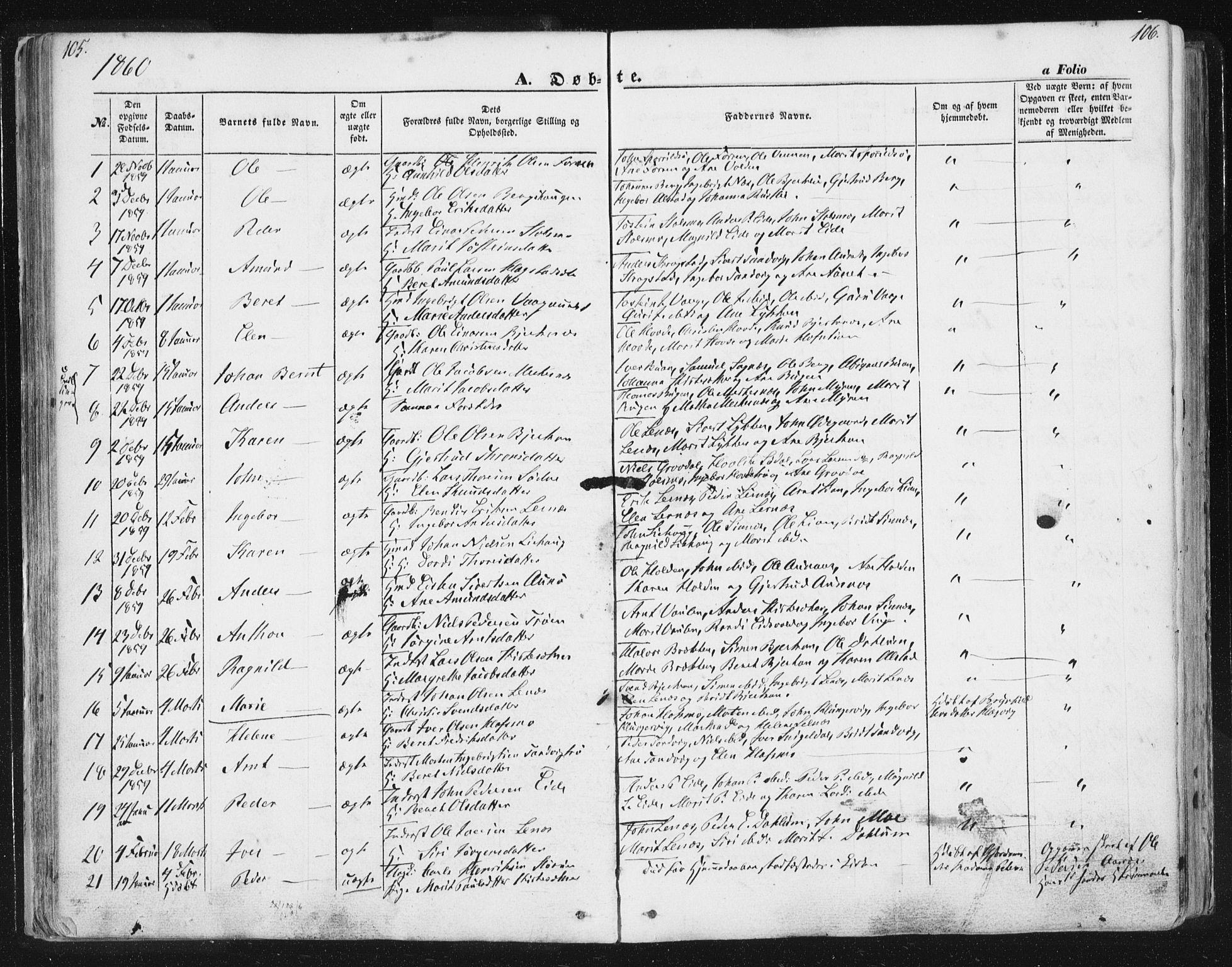 SAT, Ministerialprotokoller, klokkerbøker og fødselsregistre - Sør-Trøndelag, 630/L0494: Ministerialbok nr. 630A07, 1852-1868, s. 105-106