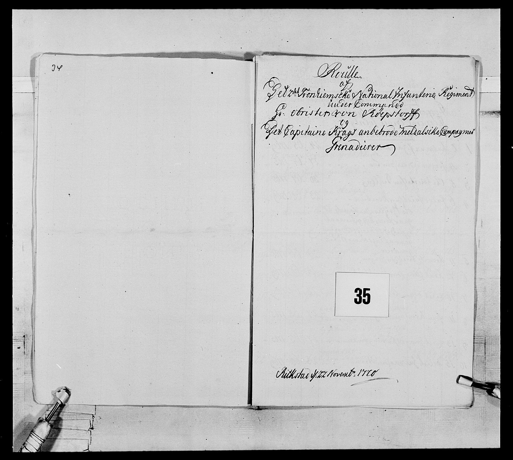RA, Generalitets- og kommissariatskollegiet, Det kongelige norske kommissariatskollegium, E/Eh/L0076: 2. Trondheimske nasjonale infanteriregiment, 1766-1773, s. 106