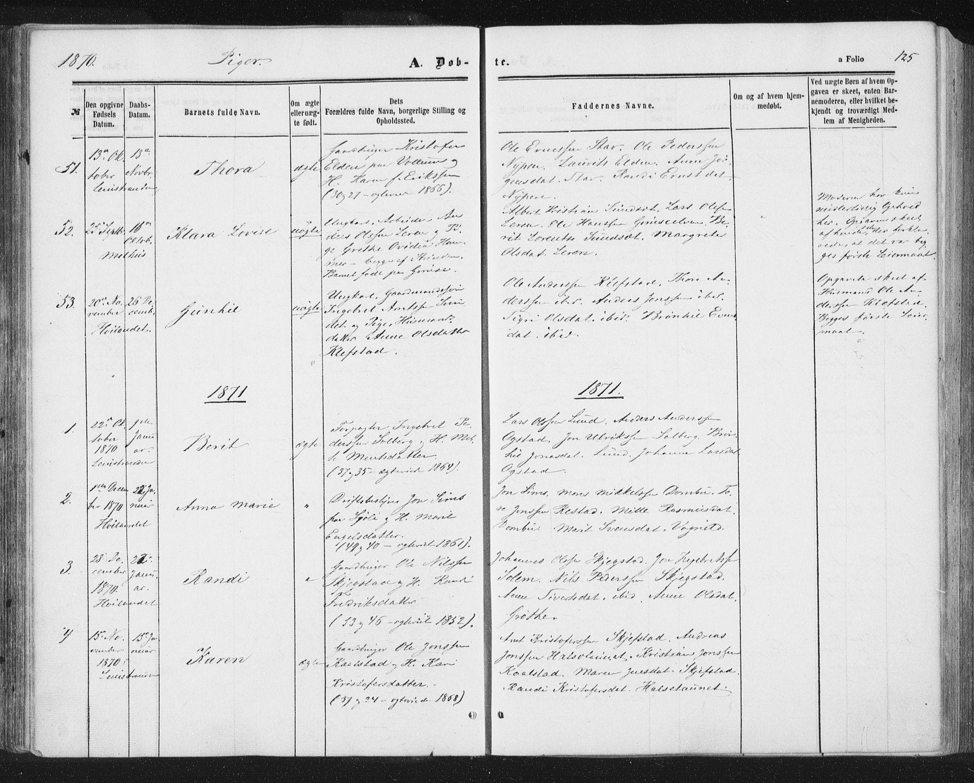 SAT, Ministerialprotokoller, klokkerbøker og fødselsregistre - Sør-Trøndelag, 691/L1077: Ministerialbok nr. 691A09, 1862-1873, s. 125
