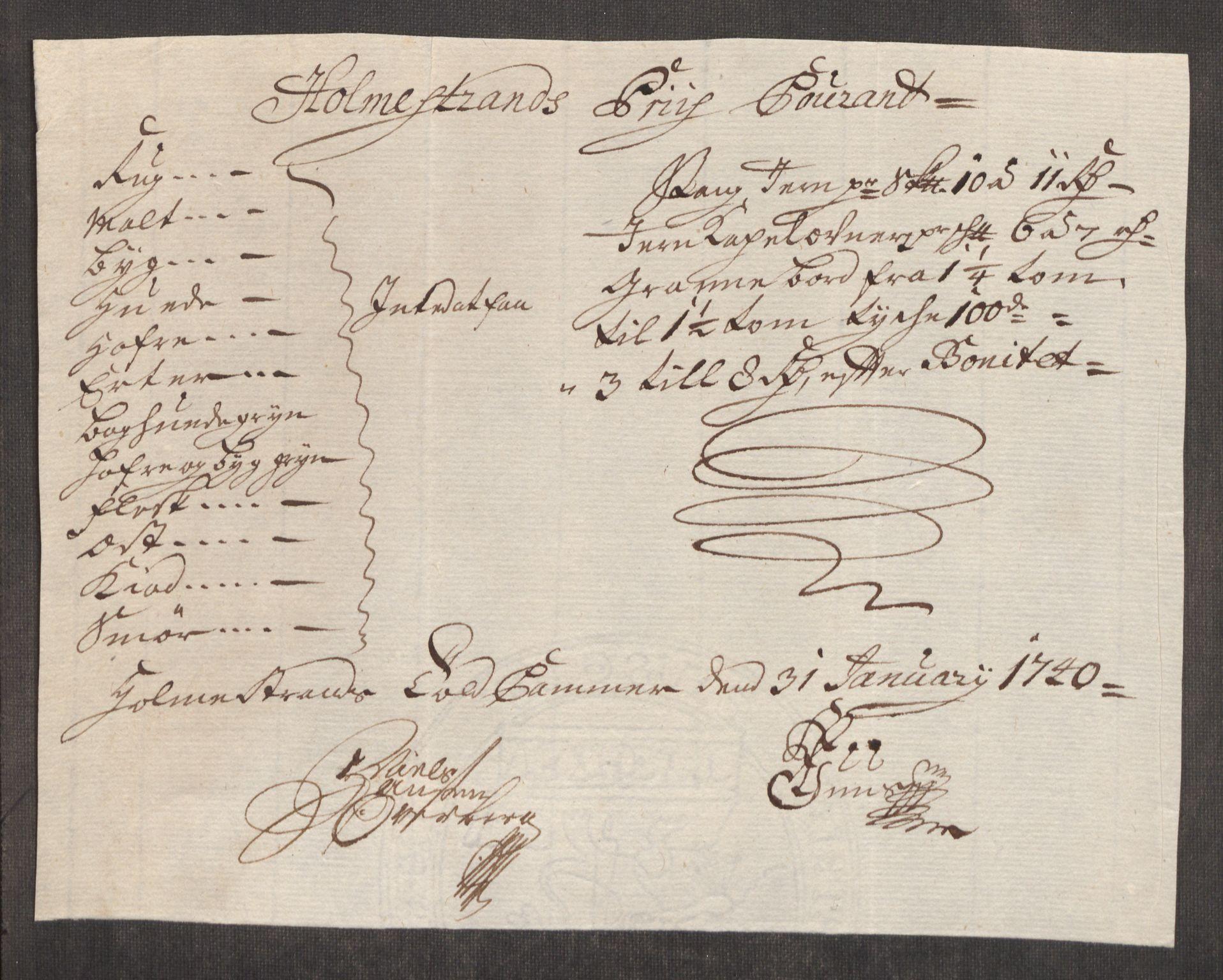 RA, Rentekammeret inntil 1814, Realistisk ordnet avdeling, Oe/L0002: [Ø1]: Priskuranter, 1740-1744, s. 82