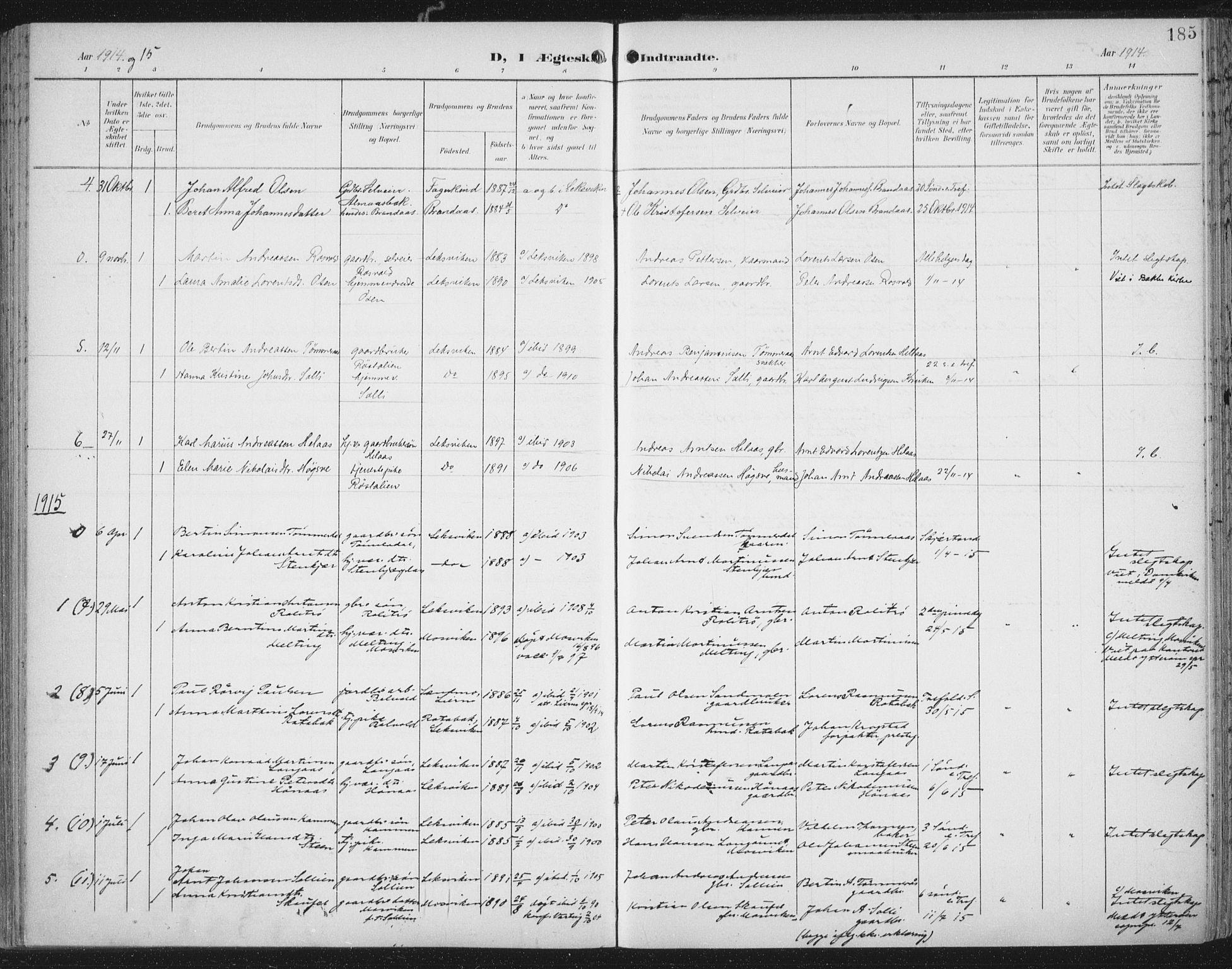 SAT, Ministerialprotokoller, klokkerbøker og fødselsregistre - Nord-Trøndelag, 701/L0011: Ministerialbok nr. 701A11, 1899-1915, s. 185