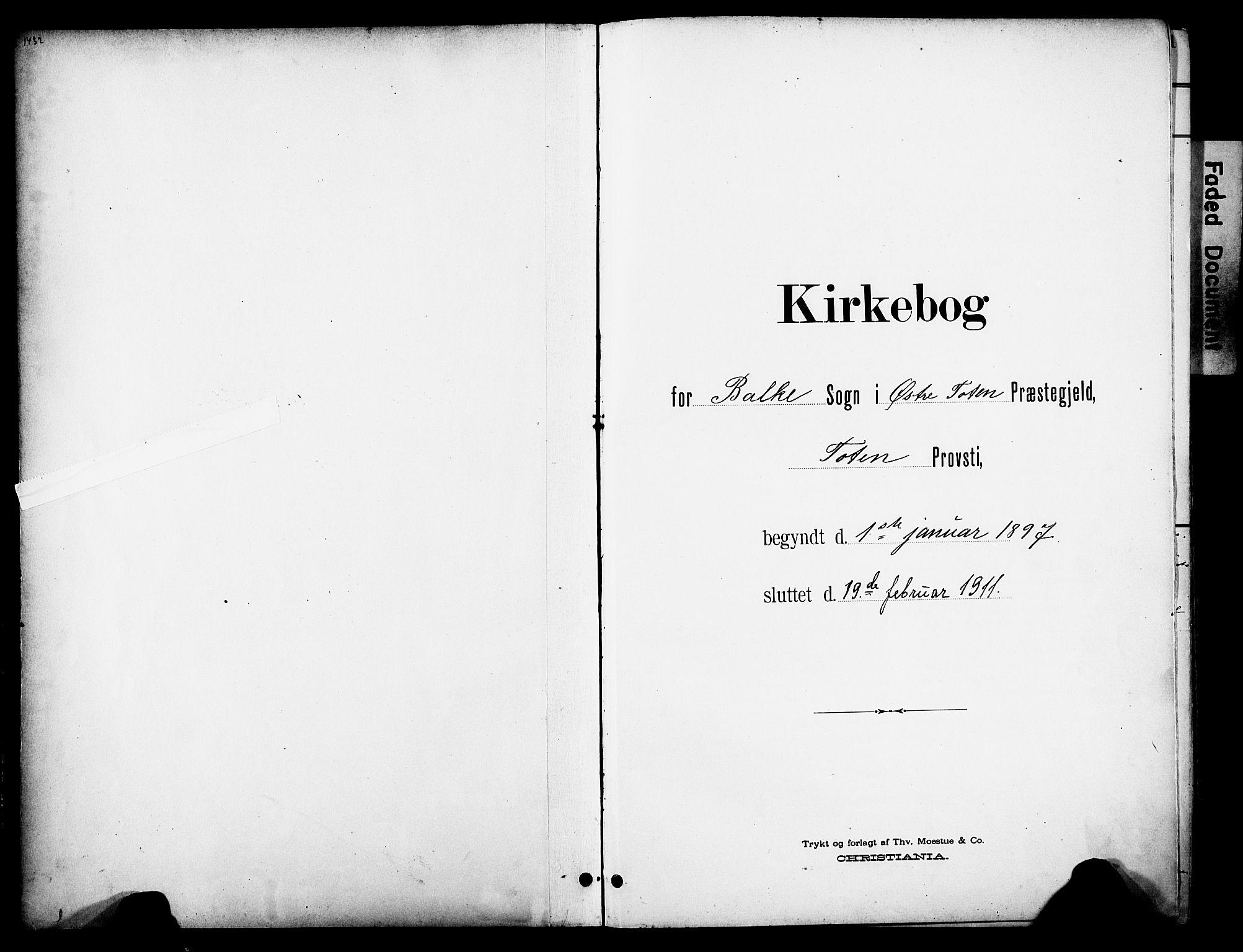 SAH, Østre Toten prestekontor, Ministerialbok nr. 9, 1897-1913
