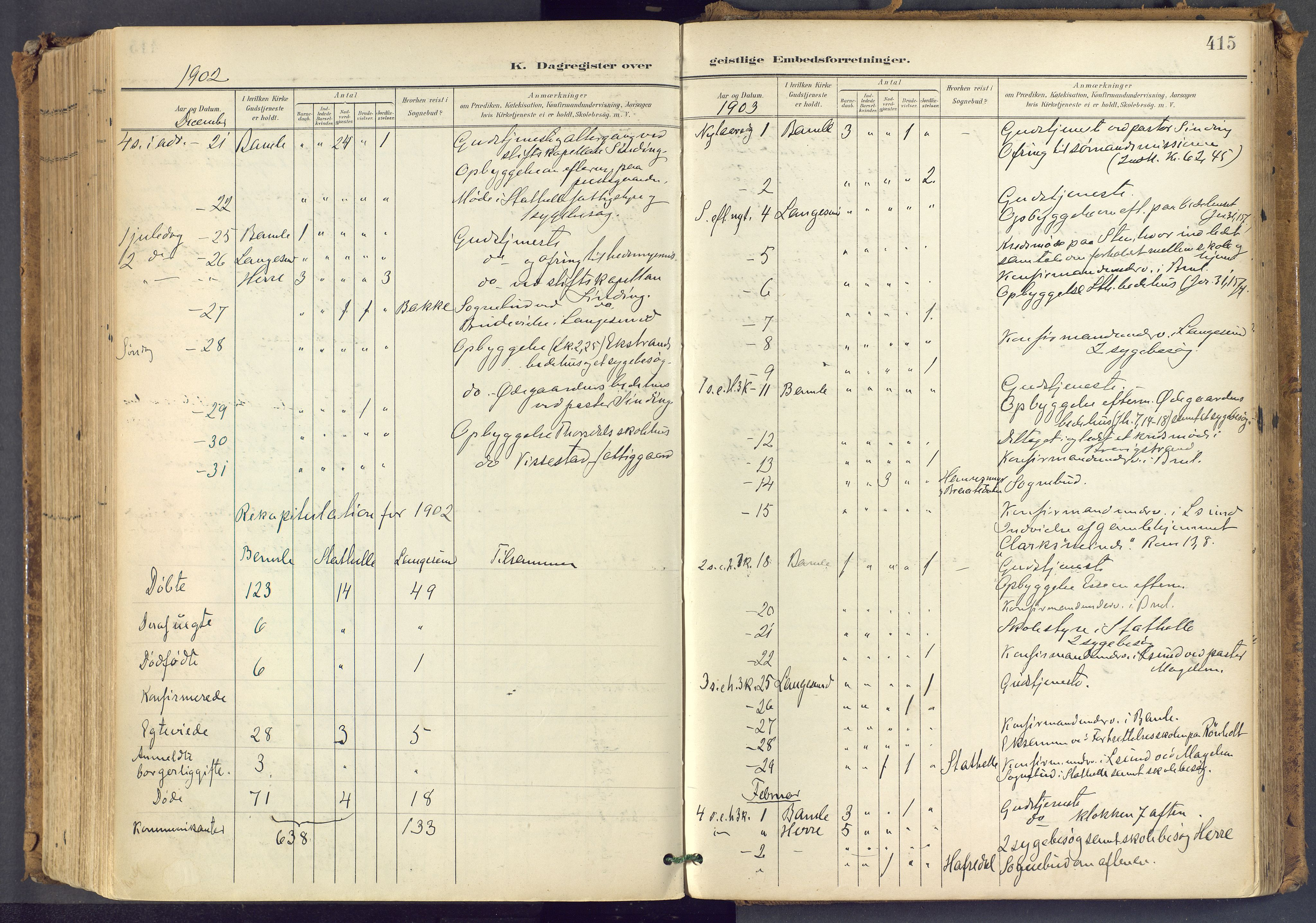 SAKO, Bamble kirkebøker, F/Fa/L0009: Ministerialbok nr. I 9, 1901-1917, s. 415
