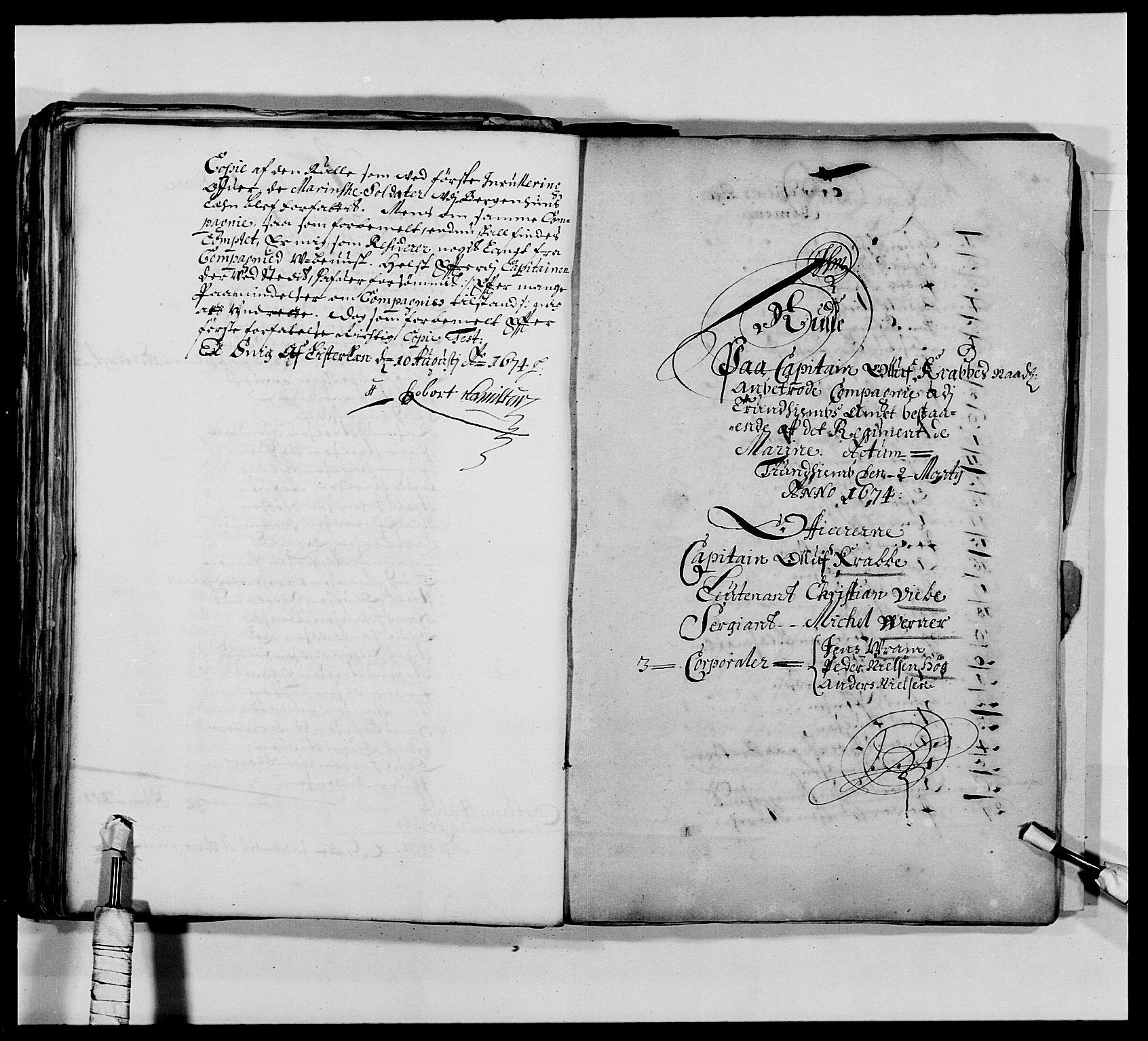 RA, Kommanderende general (KG I) med Det norske krigsdirektorium, E/Ea/L0473: Marineregimentet, 1664-1700, s. 92