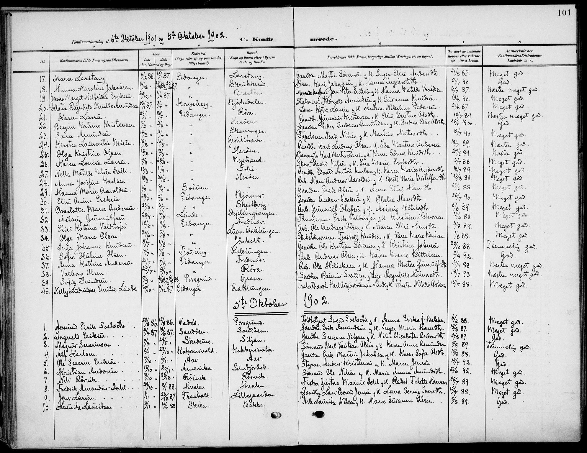 SAKO, Eidanger kirkebøker, F/Fa/L0013: Ministerialbok nr. 13, 1900-1913, s. 101