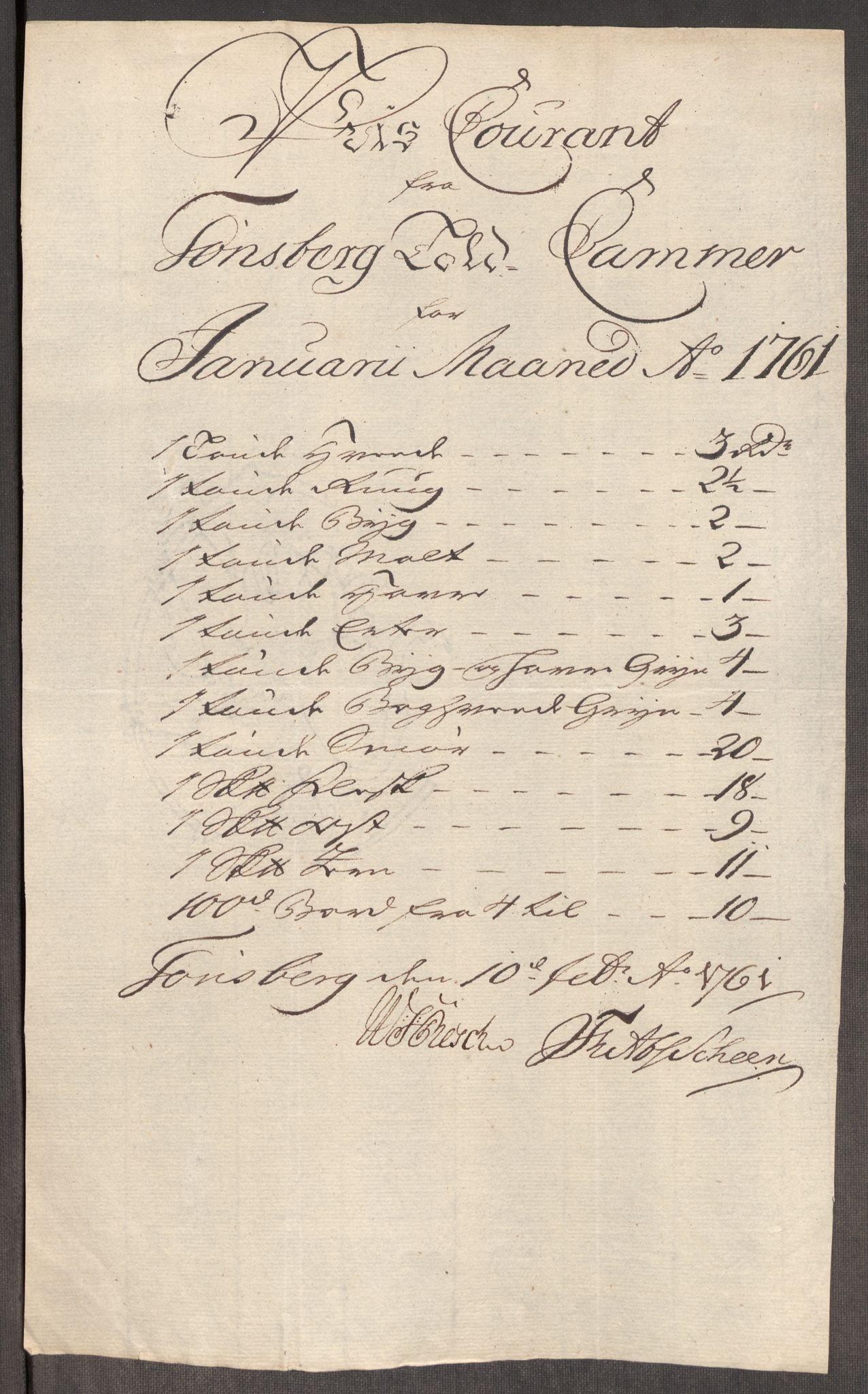 RA, Rentekammeret inntil 1814, Realistisk ordnet avdeling, Oe/L0007: [Ø1]: Priskuranter, 1761-1763, s. 146