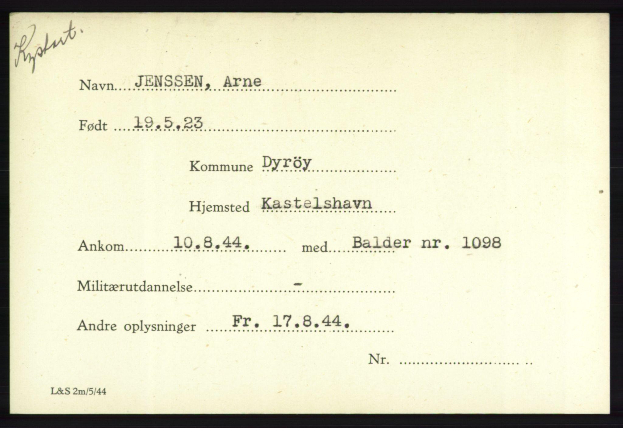 NHM, Forsvarets Overkommando. 2. kontor. Arkiv 8.1. Mottakersentralen FDE og FO.II, P/Pa/L0010: Kortsamling, 1940-1945, s. 1