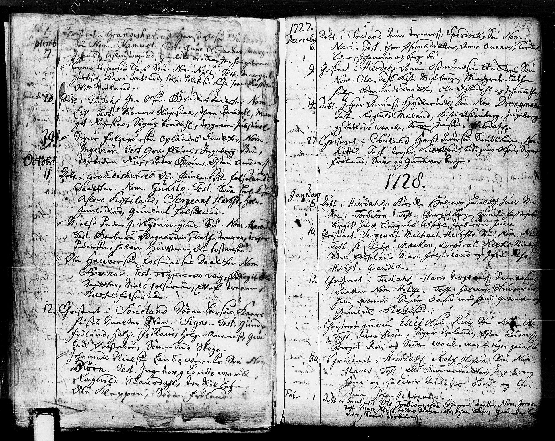SAKO, Hjartdal kirkebøker, F/Fa/L0003: Ministerialbok nr. I 3, 1727-1775, s. 5