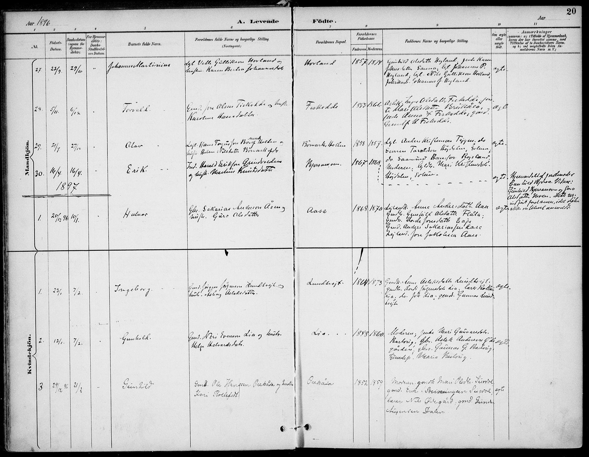 SAKO, Lunde kirkebøker, F/Fa/L0003: Ministerialbok nr. I 3, 1893-1902, s. 20