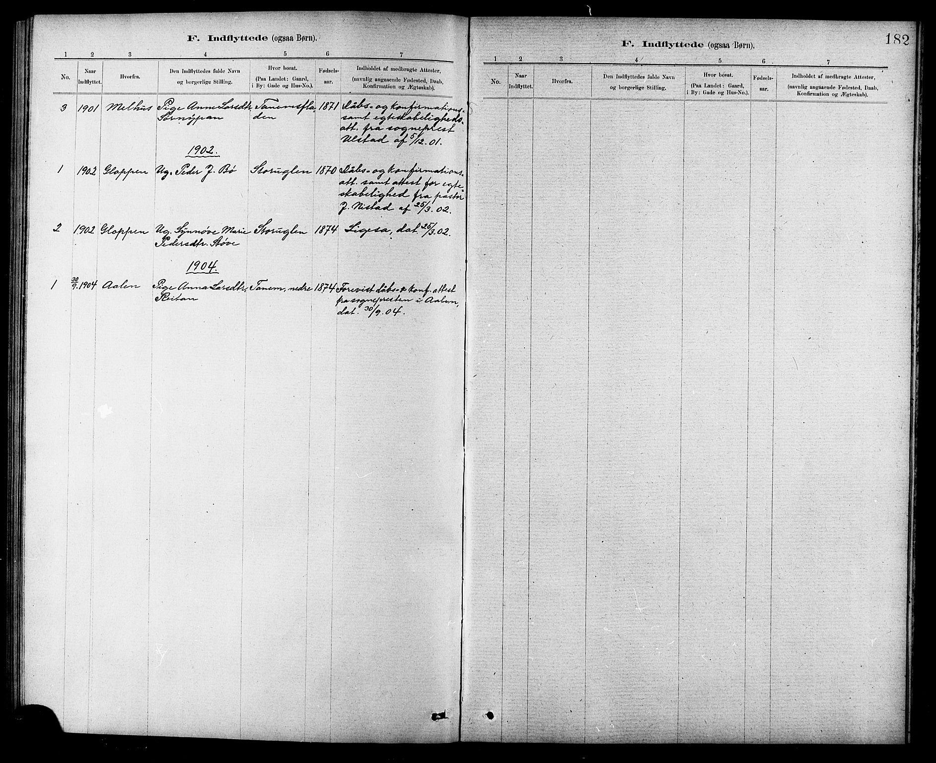 SAT, Ministerialprotokoller, klokkerbøker og fødselsregistre - Sør-Trøndelag, 618/L0452: Klokkerbok nr. 618C03, 1884-1906, s. 182